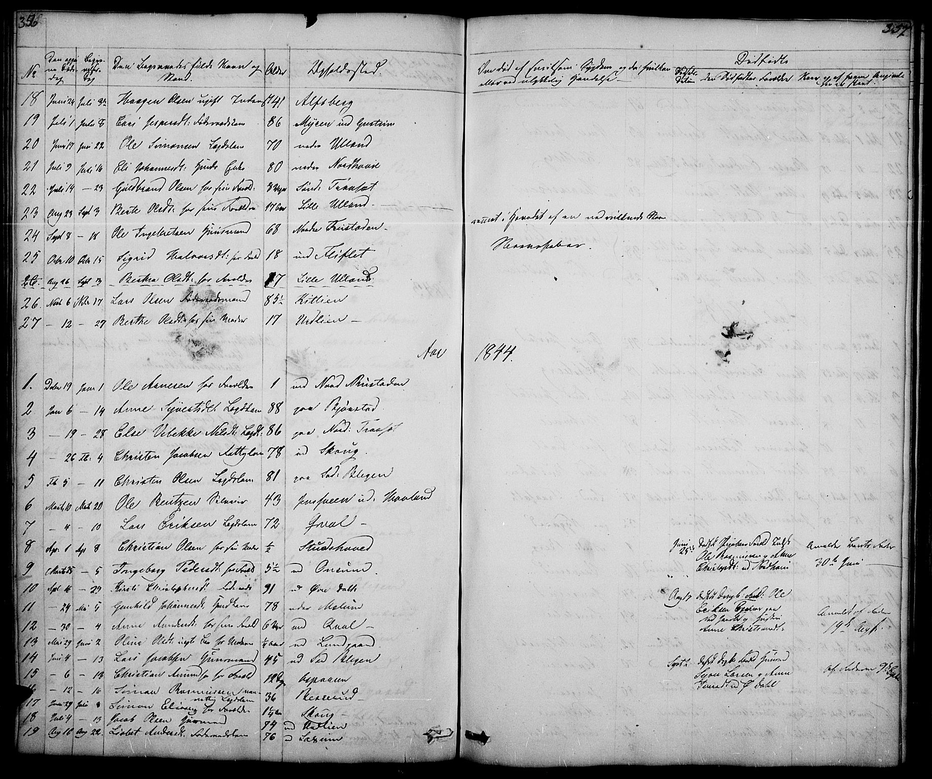 SAH, Fåberg prestekontor, Klokkerbok nr. 5, 1837-1864, s. 356-357