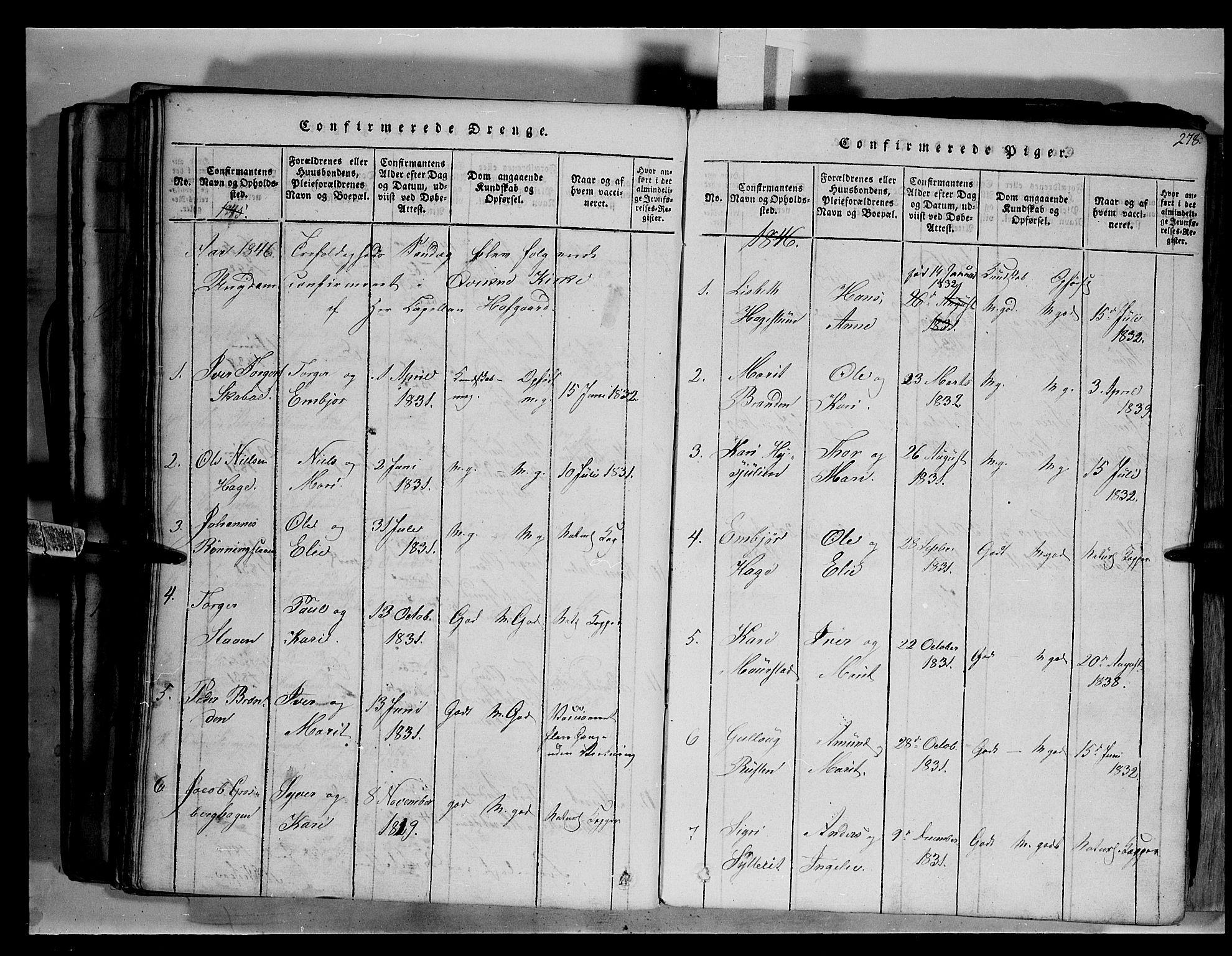 SAH, Fron prestekontor, H/Ha/Hab/L0003: Klokkerbok nr. 3, 1816-1850, s. 278