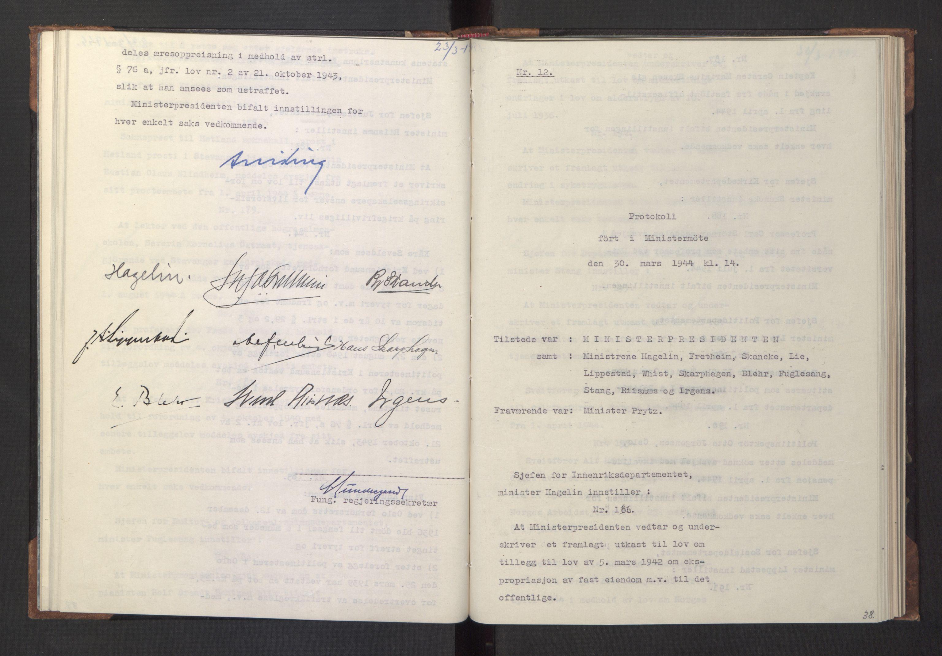 RA, NS-administrasjonen 1940-1945 (Statsrådsekretariatet, de kommisariske statsråder mm), D/Da/L0005: Protokoll fra ministermøter, 1944, s. 37b-38a