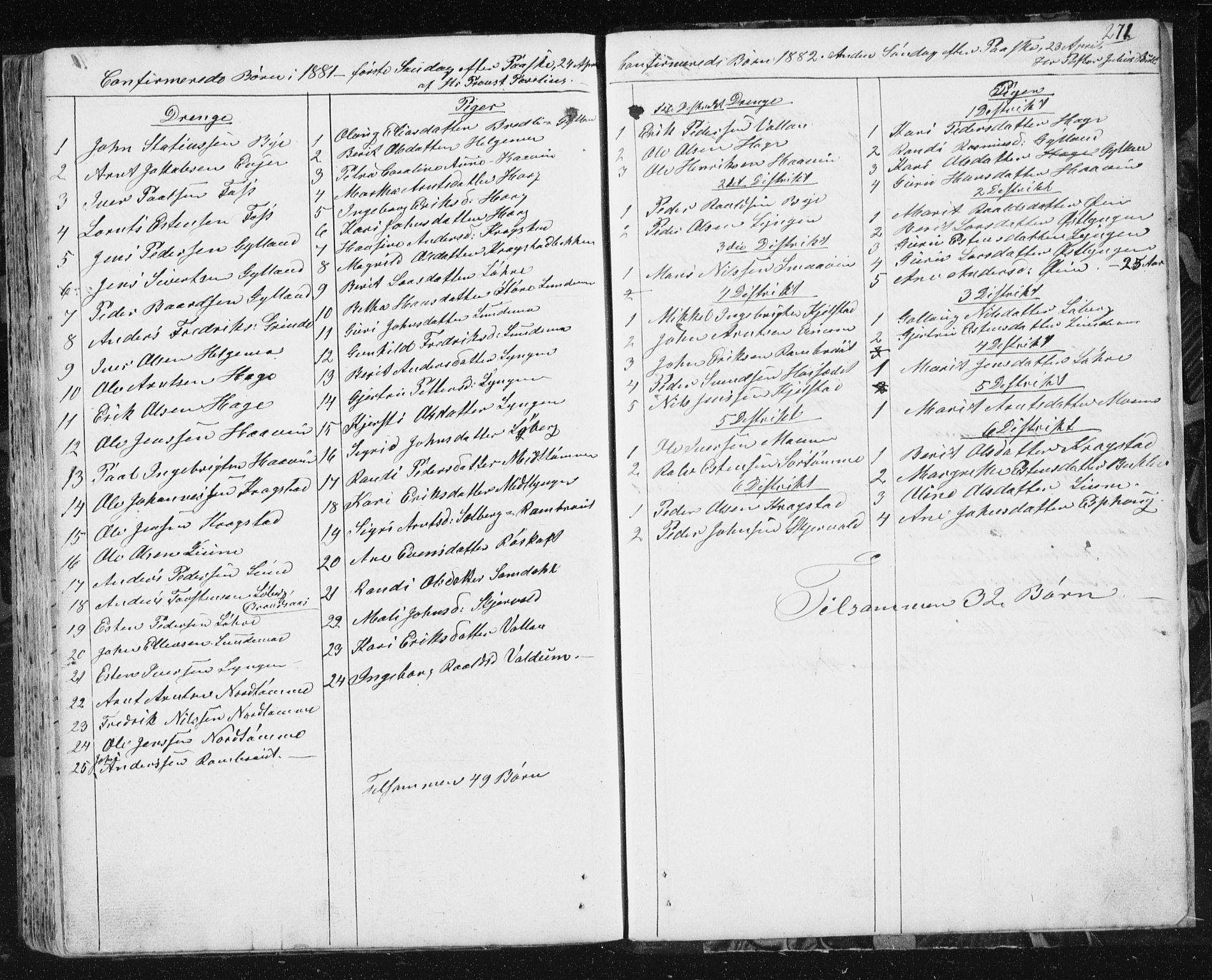 SAT, Ministerialprotokoller, klokkerbøker og fødselsregistre - Sør-Trøndelag, 692/L1110: Klokkerbok nr. 692C05, 1849-1889, s. 271