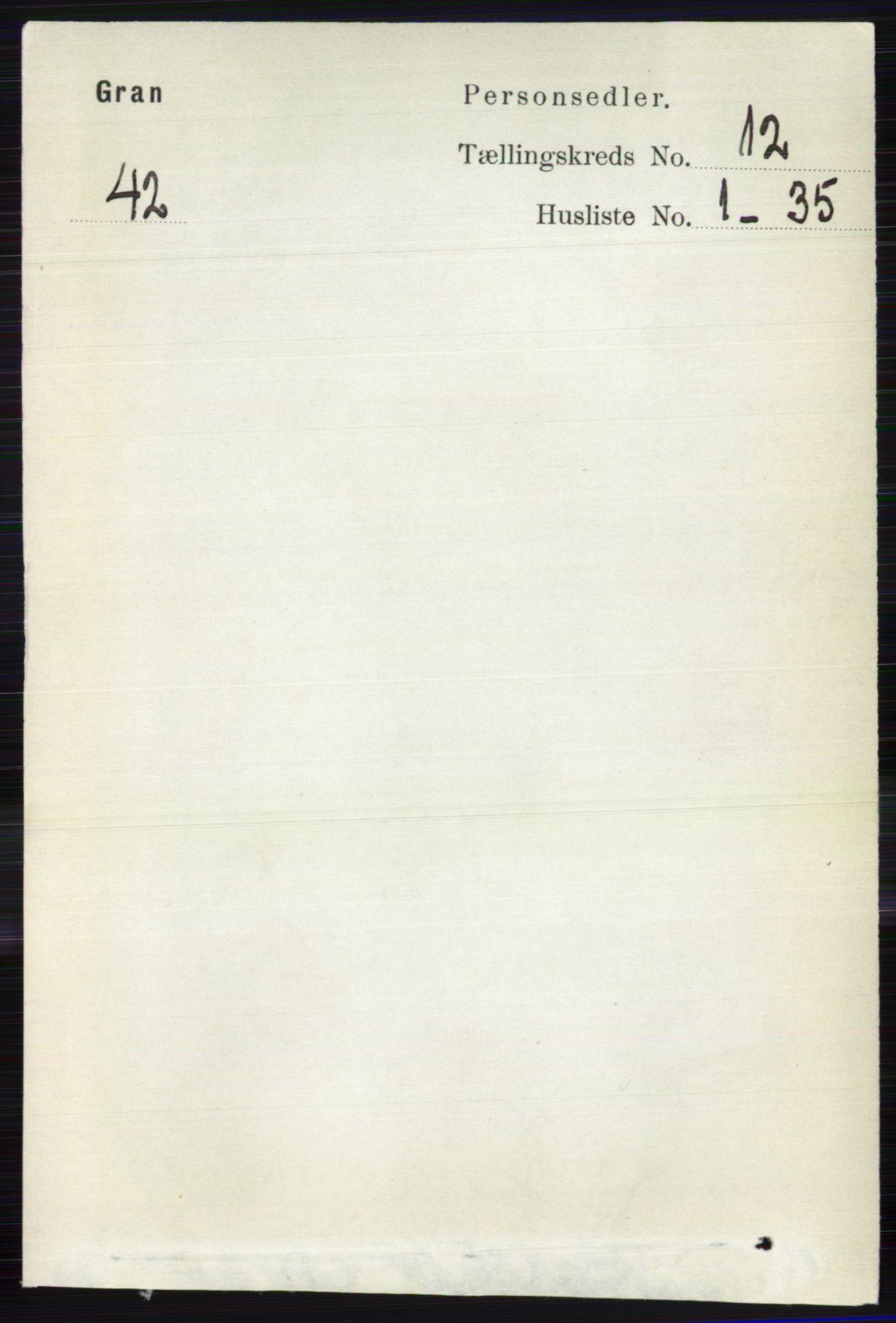 RA, Folketelling 1891 for 0534 Gran herred, 1891, s. 6176