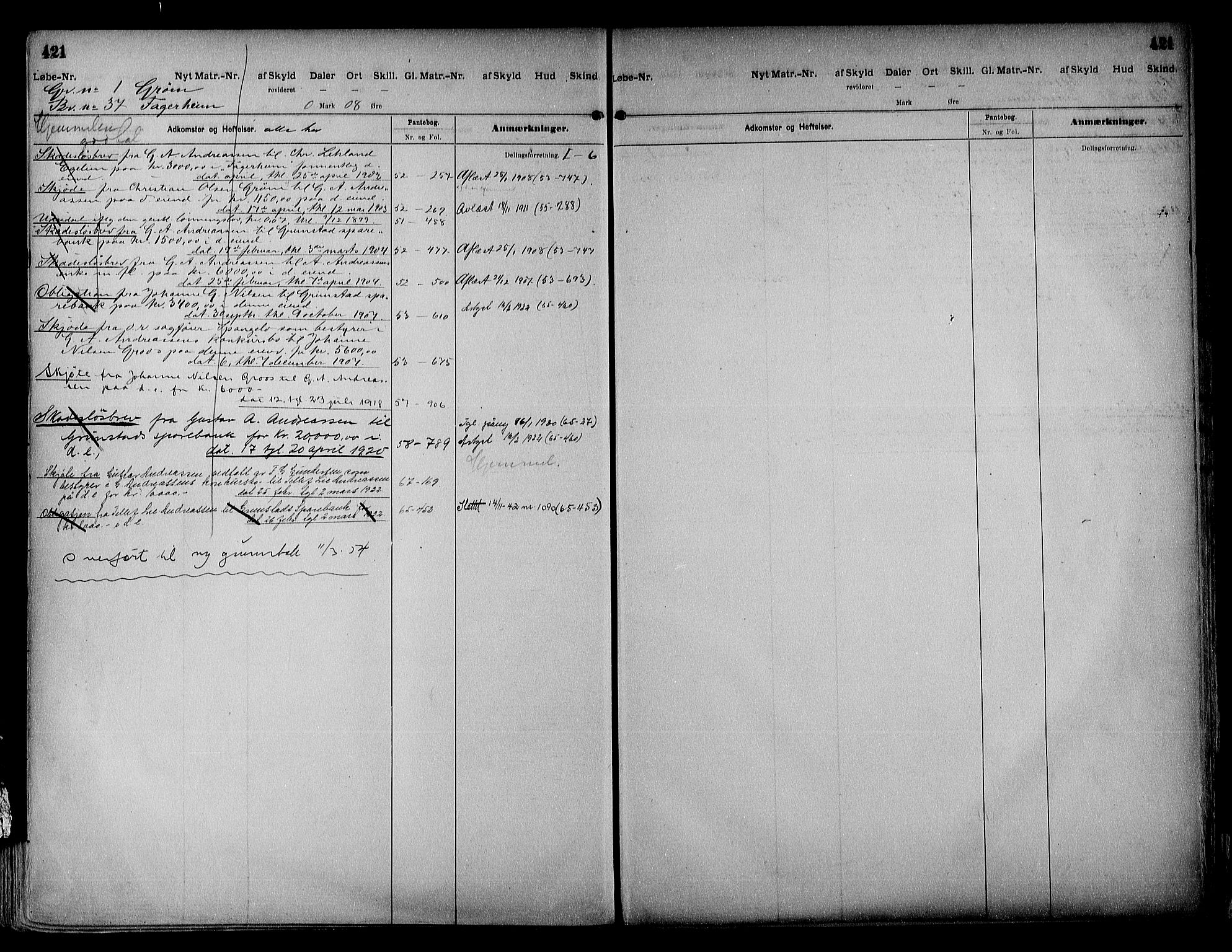 SAK, Vestre Nedenes/Sand sorenskriveri, G/Ga/L0018: Panteregister nr. 13b, 1872-1956, s. 421