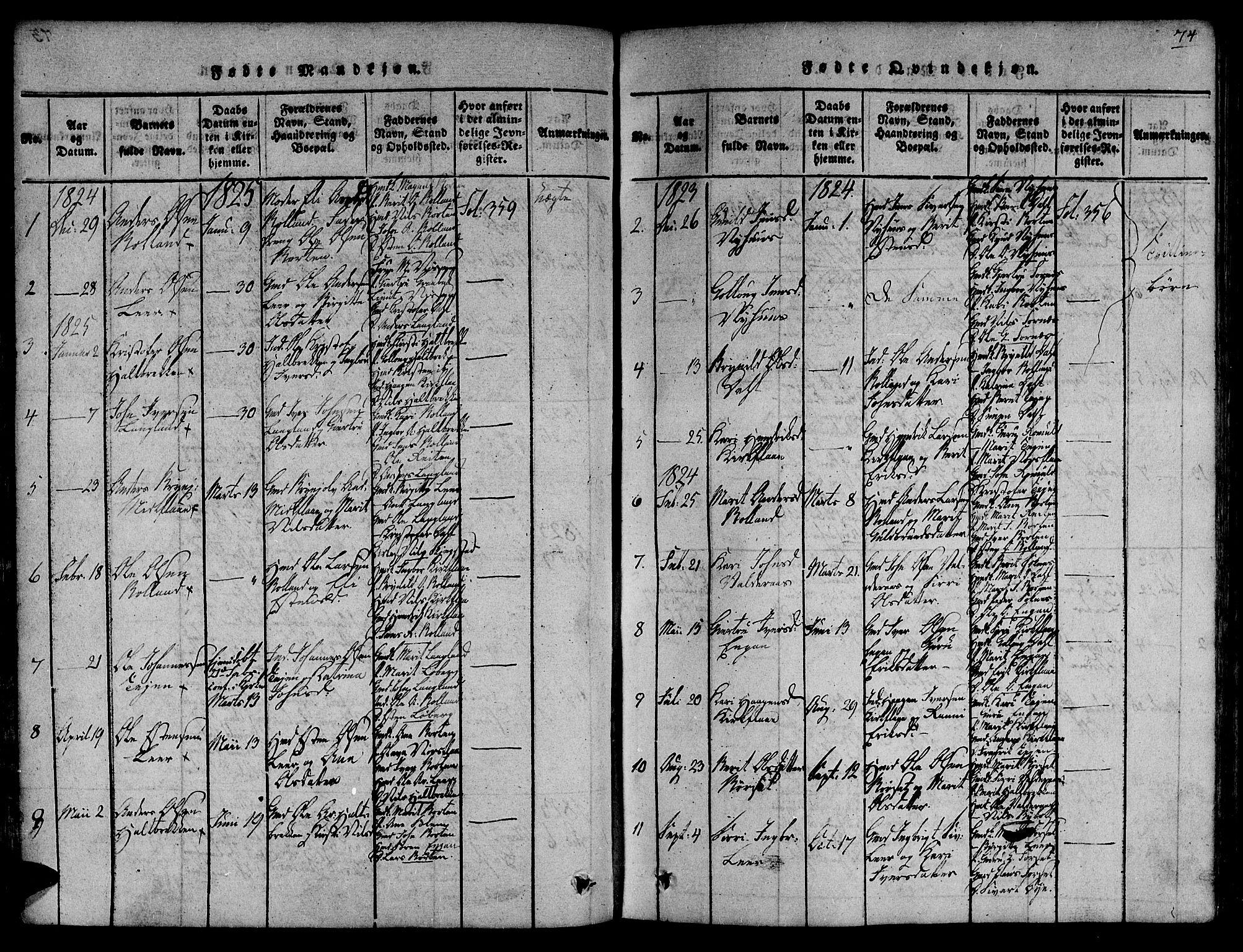 SAT, Ministerialprotokoller, klokkerbøker og fødselsregistre - Sør-Trøndelag, 691/L1066: Ministerialbok nr. 691A03 /2, 1816-1826, s. 74