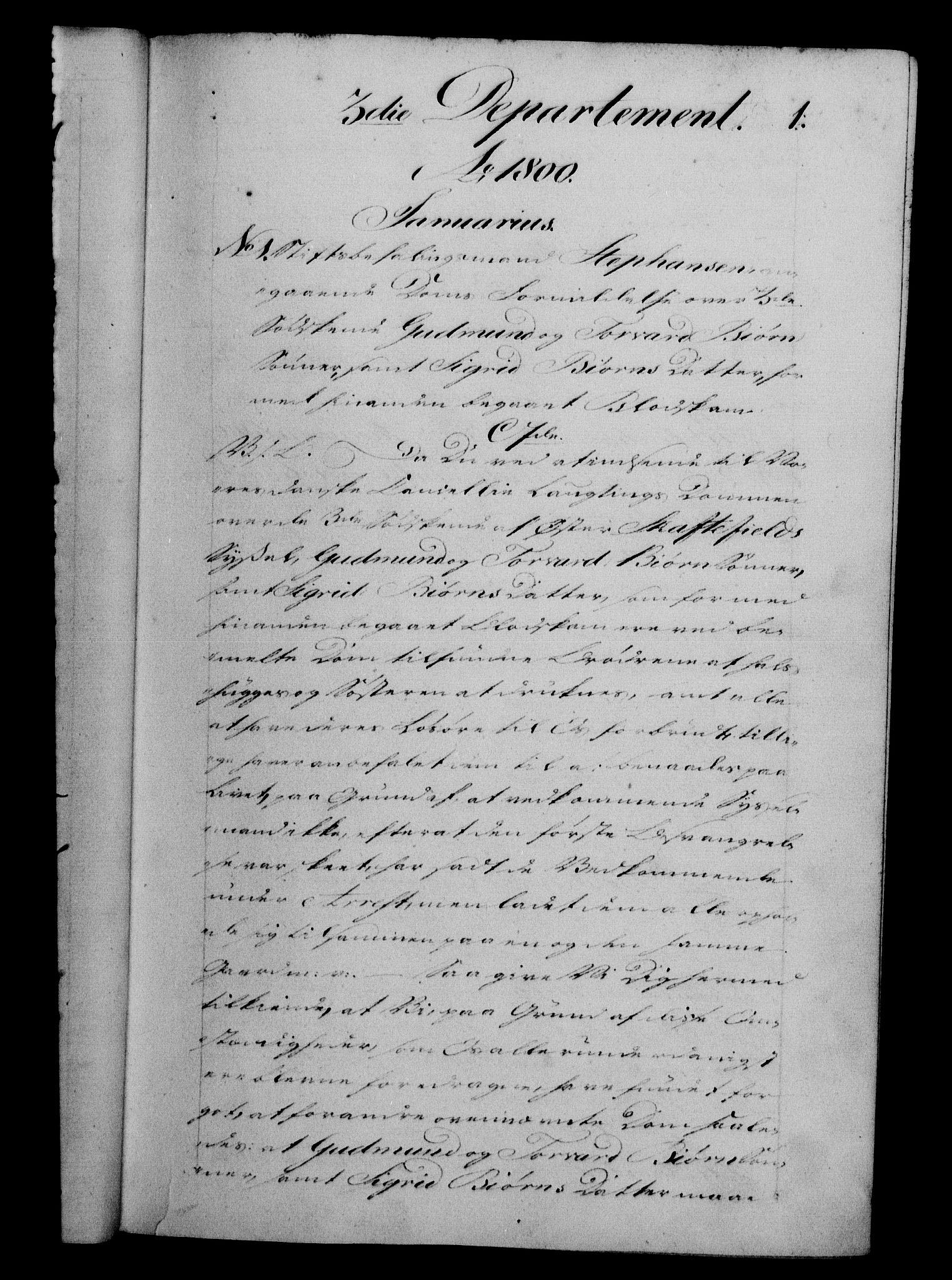 RA, Danske Kanselli 1800-1814, H/Hf/Hfb/Hfba/L0001: Registranter, 1800-1801, s. 1a