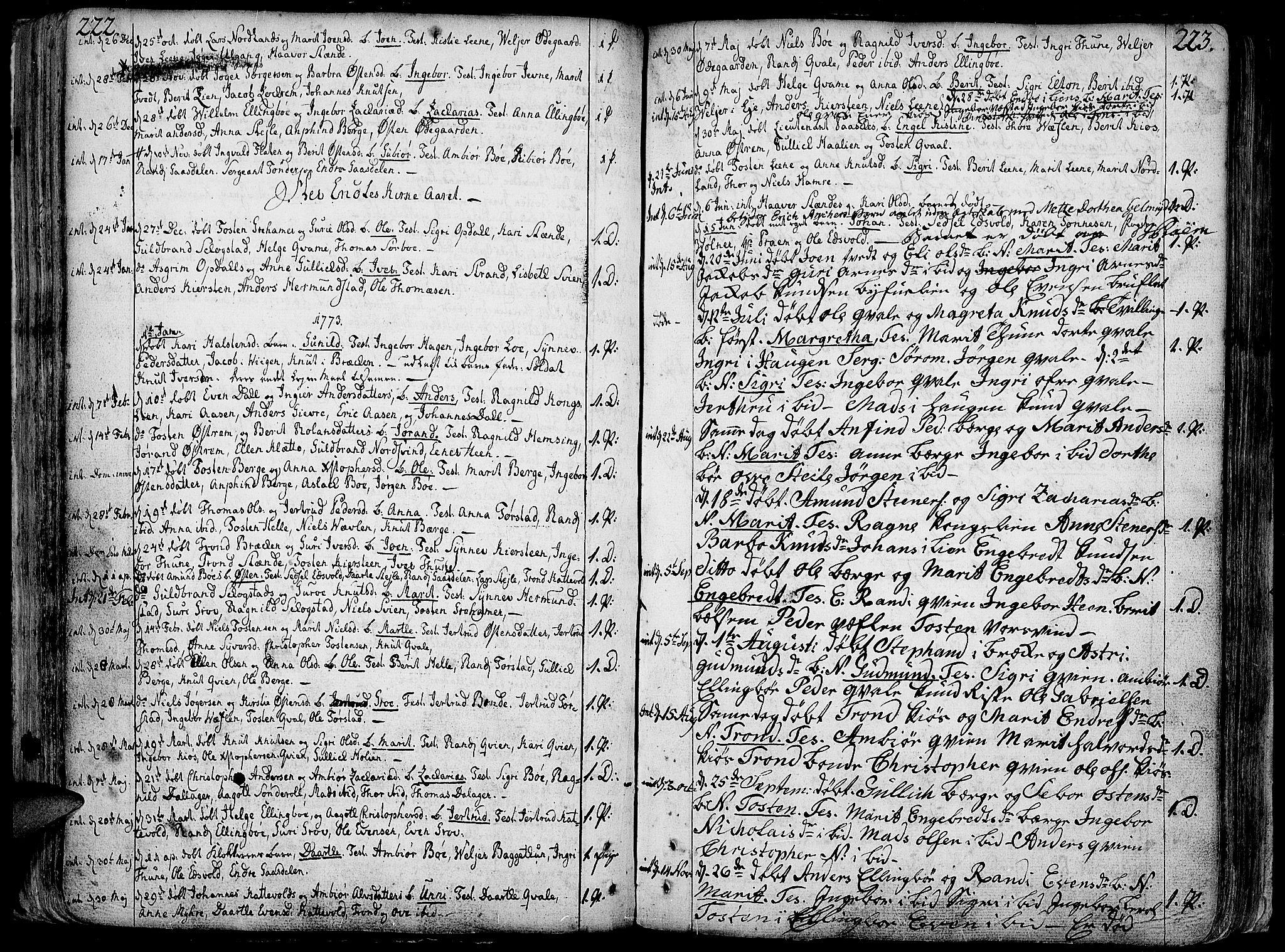 SAH, Vang prestekontor, Valdres, Ministerialbok nr. 1, 1730-1796, s. 222-223