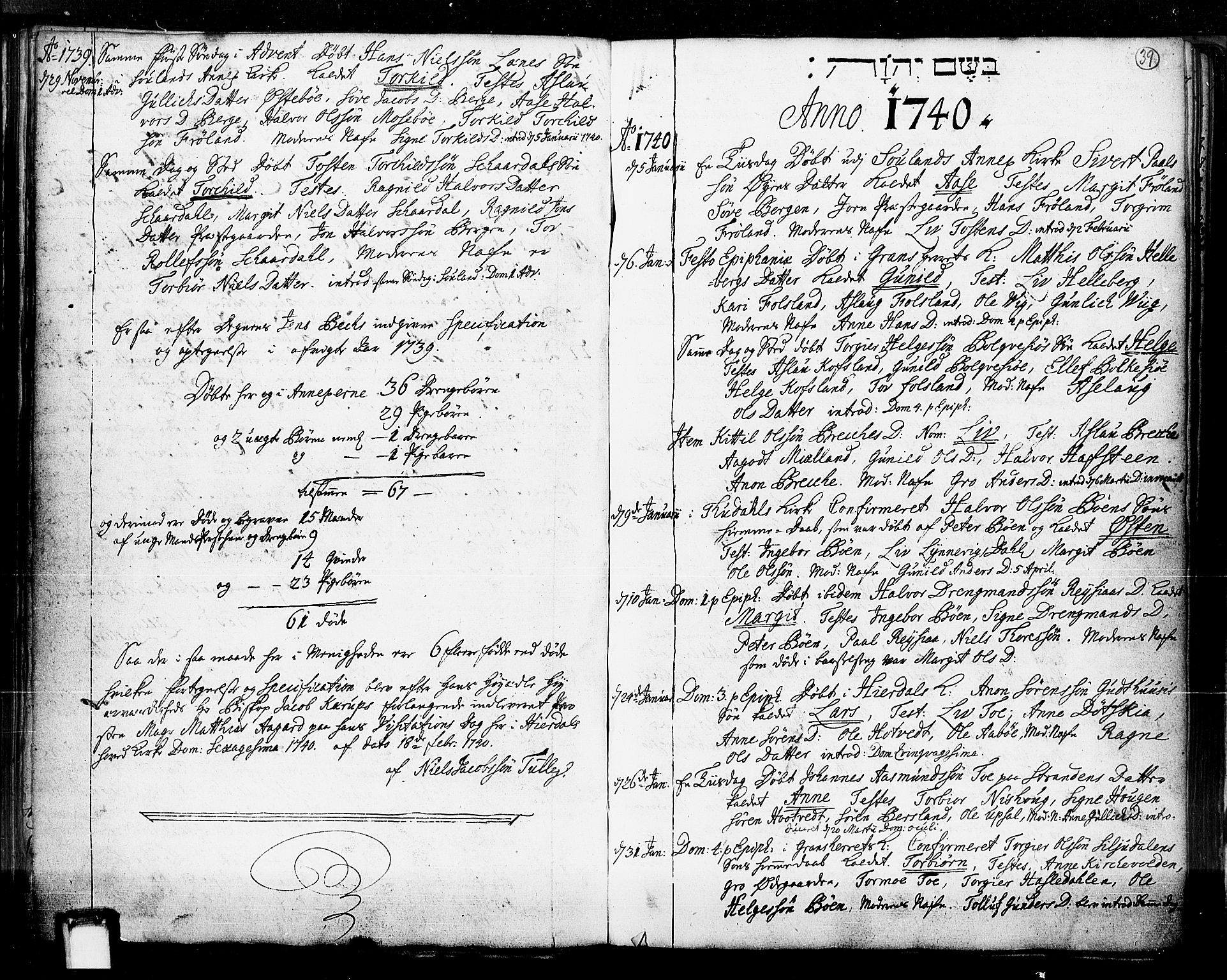 SAKO, Hjartdal kirkebøker, F/Fa/L0003: Ministerialbok nr. I 3, 1727-1775, s. 39