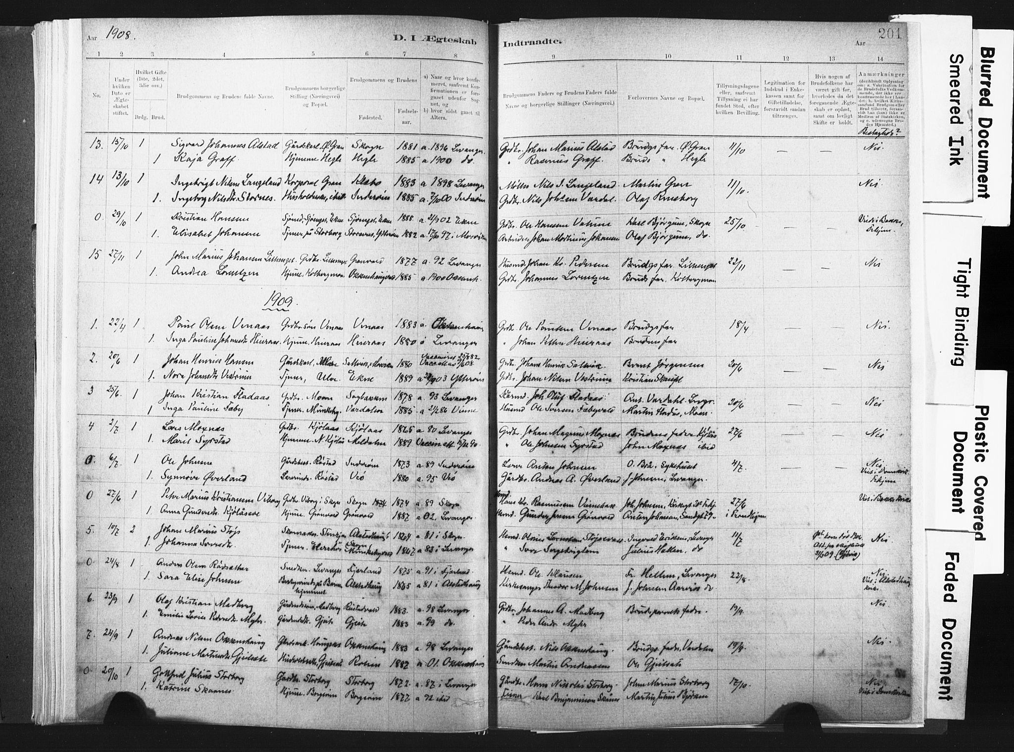 SAT, Ministerialprotokoller, klokkerbøker og fødselsregistre - Nord-Trøndelag, 721/L0207: Ministerialbok nr. 721A02, 1880-1911, s. 201