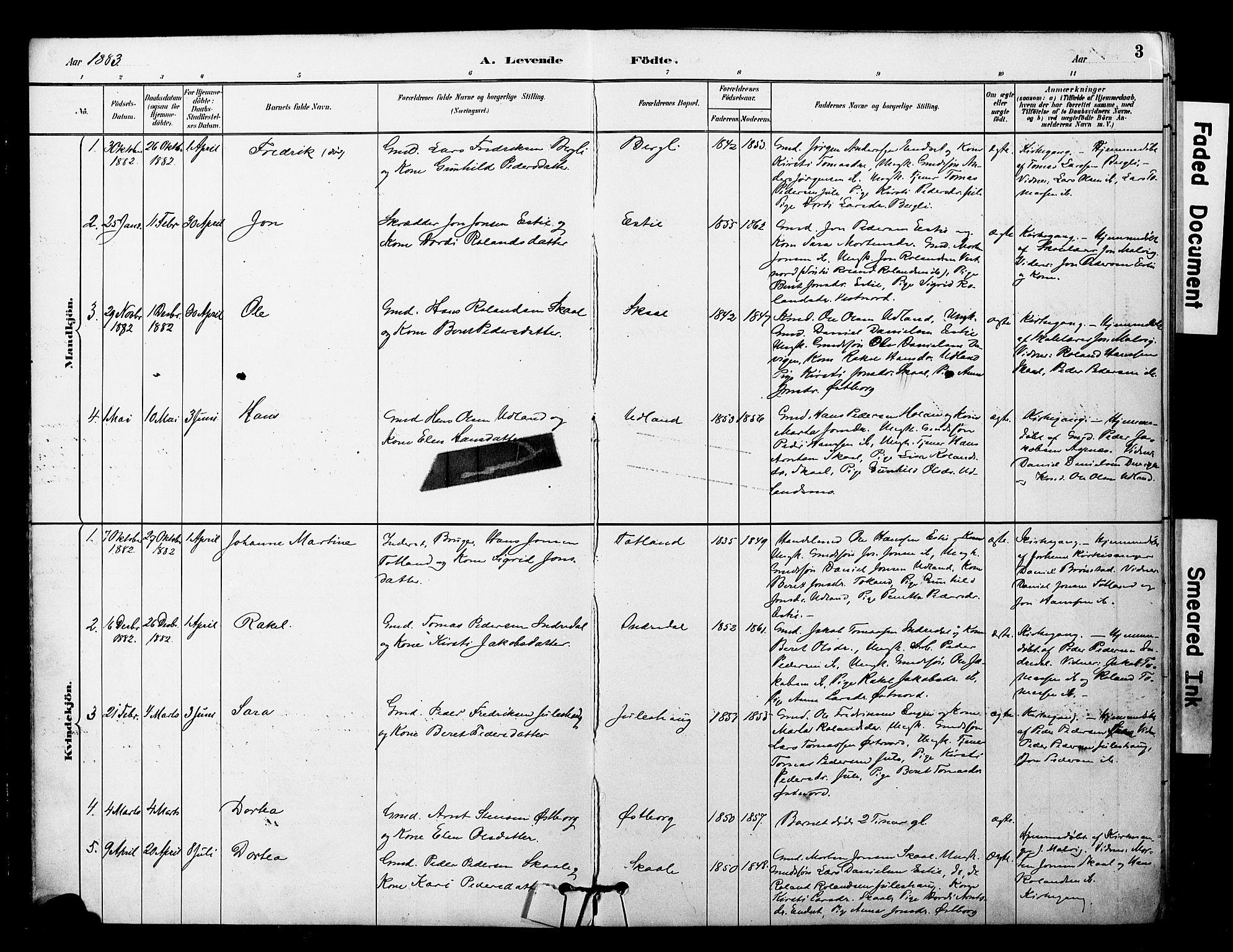 SAT, Ministerialprotokoller, klokkerbøker og fødselsregistre - Nord-Trøndelag, 757/L0505: Ministerialbok nr. 757A01, 1882-1904, s. 3