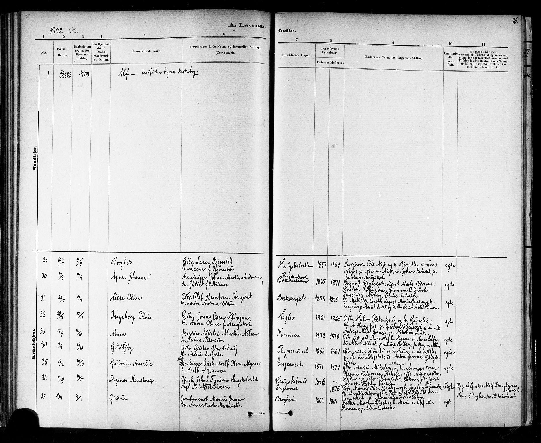 SAT, Ministerialprotokoller, klokkerbøker og fødselsregistre - Nord-Trøndelag, 721/L0208: Klokkerbok nr. 721C01, 1880-1917, s. 76