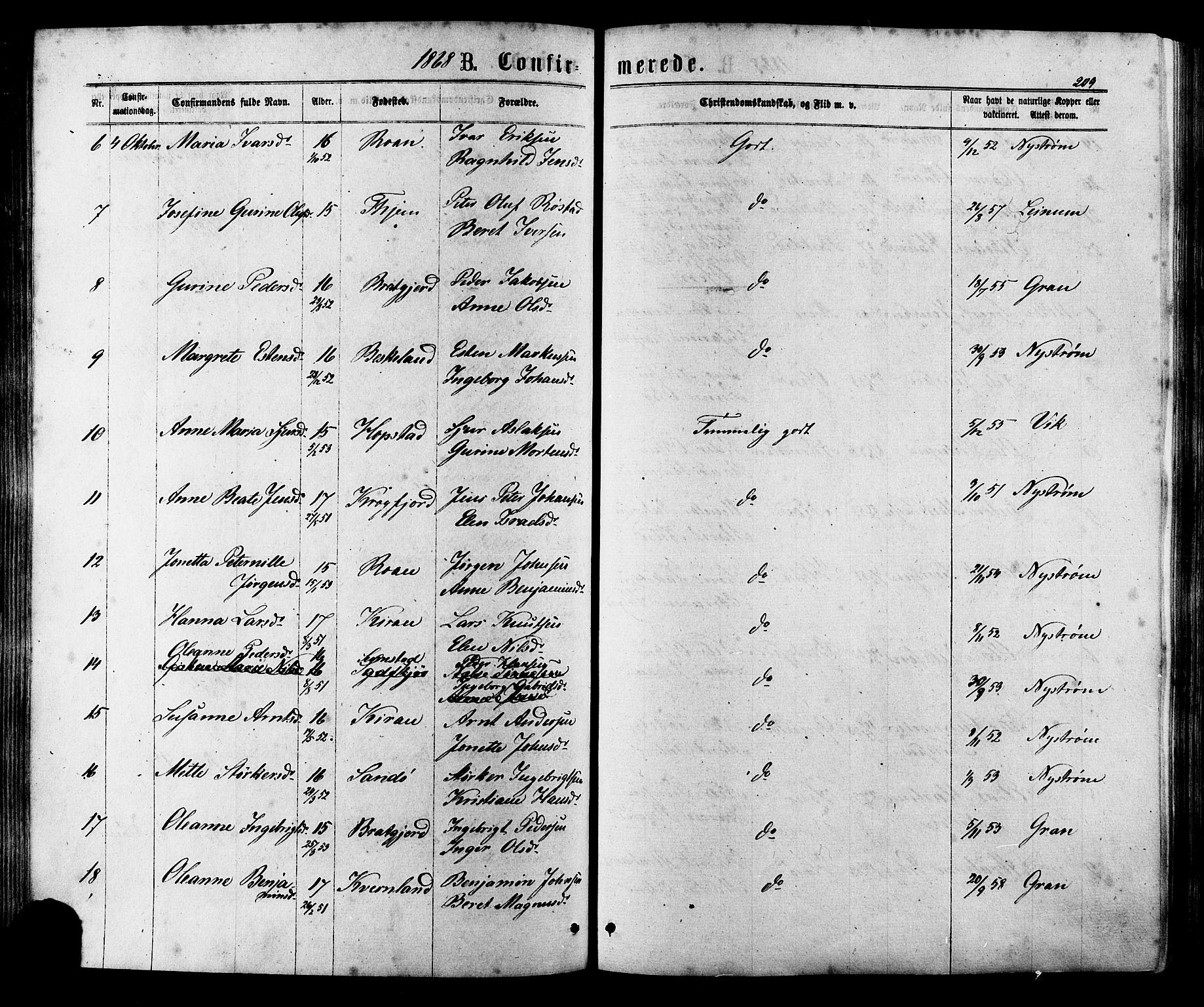 SAT, Ministerialprotokoller, klokkerbøker og fødselsregistre - Sør-Trøndelag, 657/L0706: Ministerialbok nr. 657A07, 1867-1878, s. 209