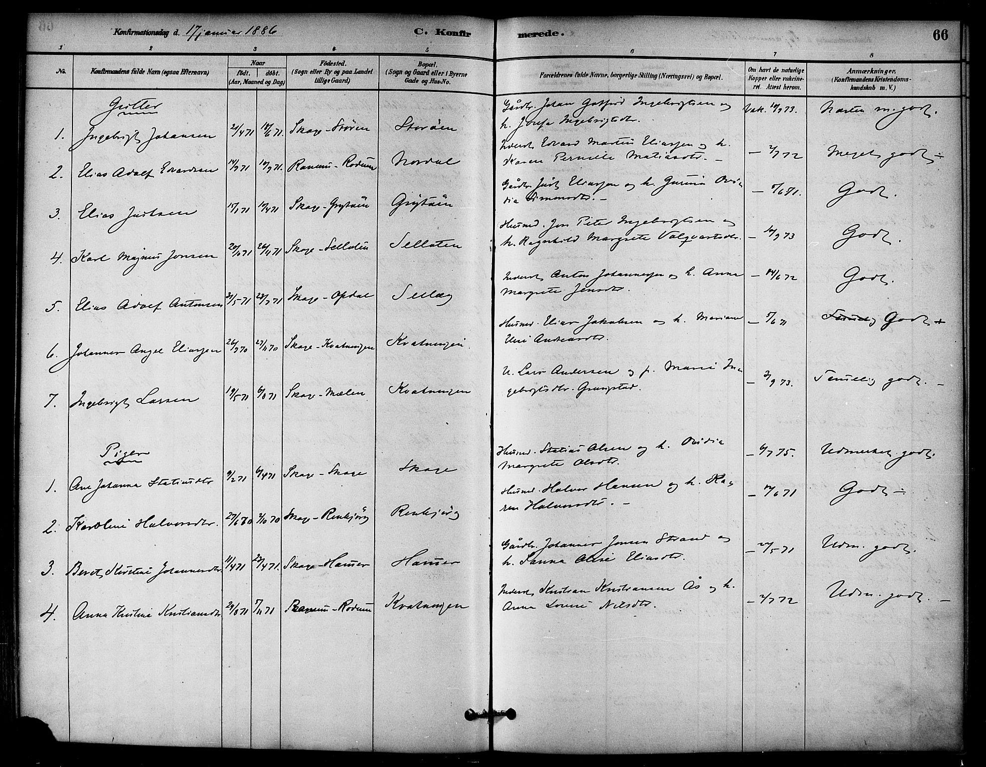 SAT, Ministerialprotokoller, klokkerbøker og fødselsregistre - Nord-Trøndelag, 766/L0563: Ministerialbok nr. 767A01, 1881-1899, s. 66