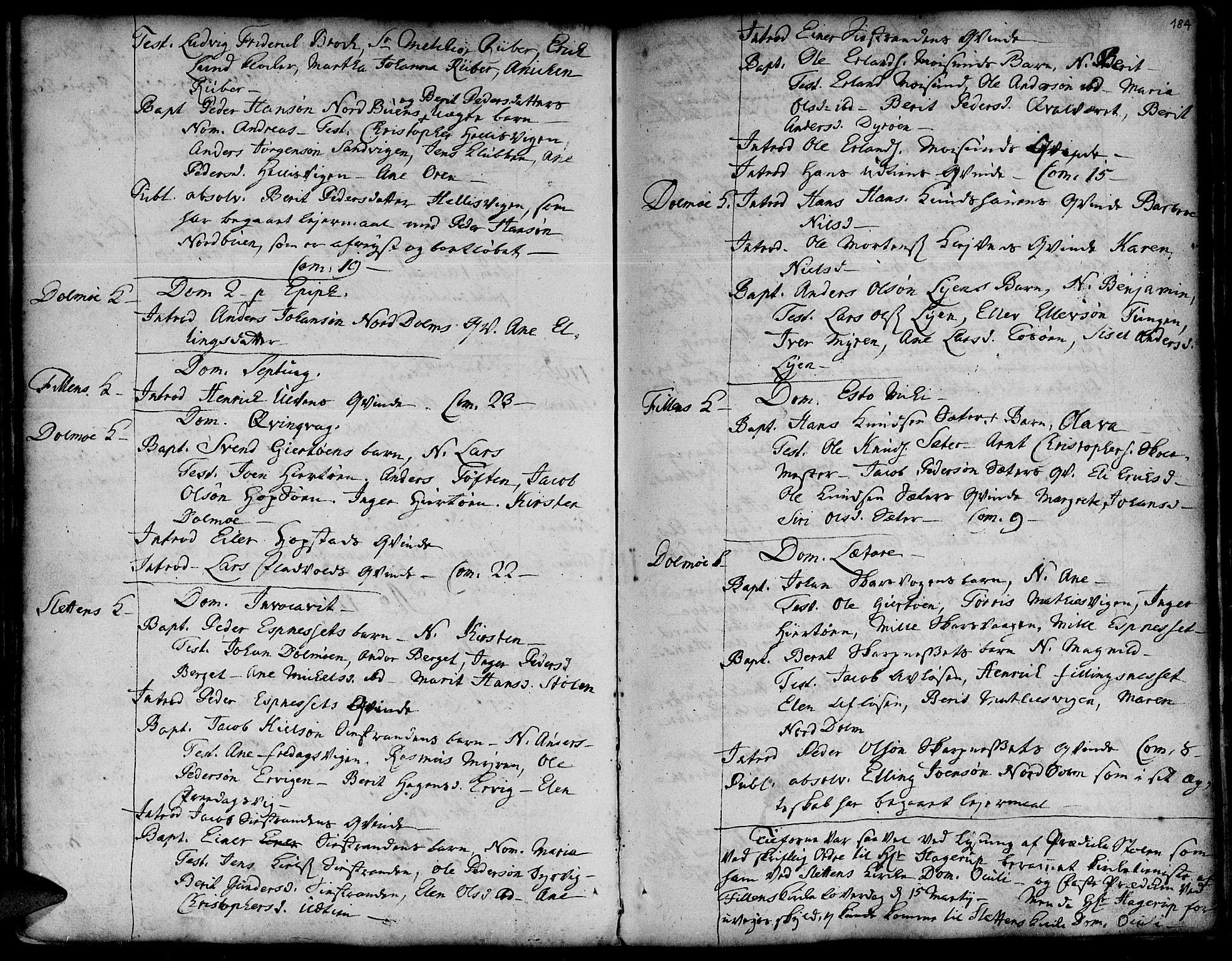 SAT, Ministerialprotokoller, klokkerbøker og fødselsregistre - Sør-Trøndelag, 634/L0525: Ministerialbok nr. 634A01, 1736-1775, s. 184