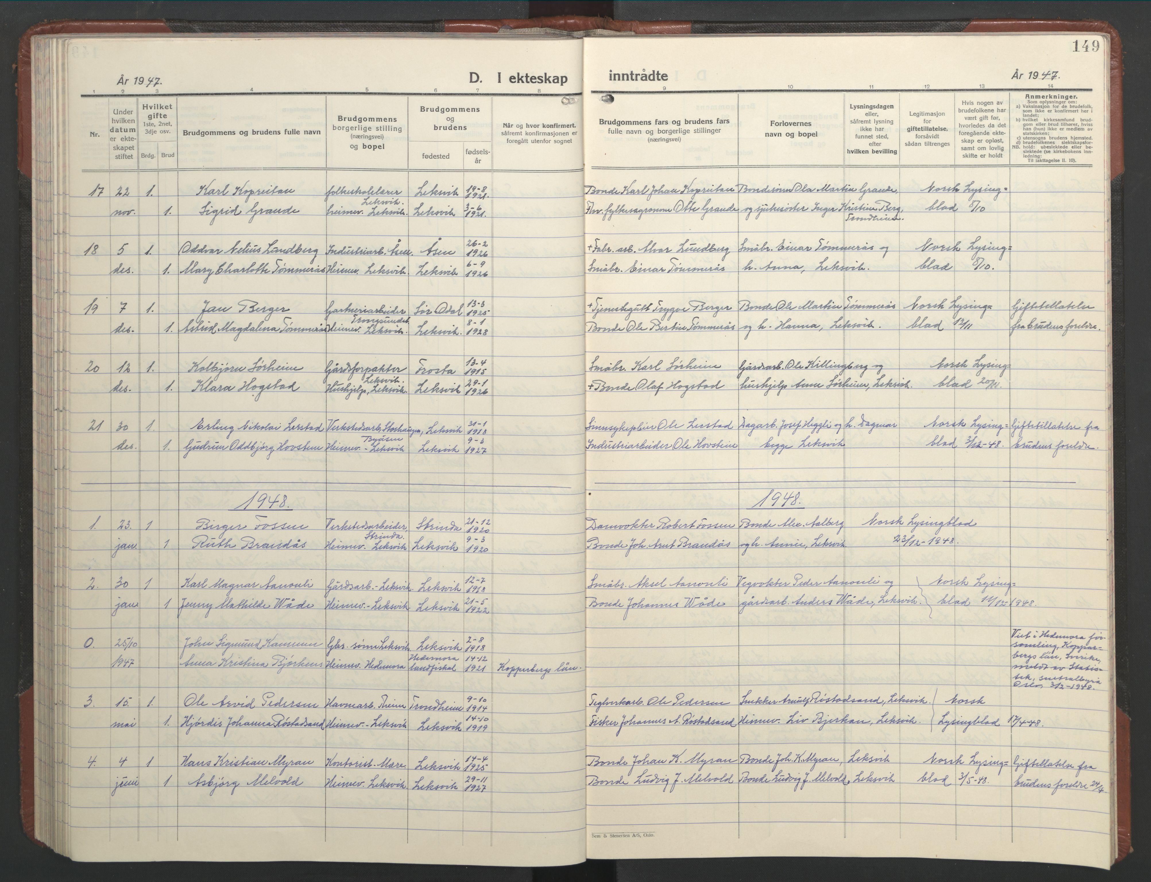 SAT, Ministerialprotokoller, klokkerbøker og fødselsregistre - Nord-Trøndelag, 701/L0019: Klokkerbok nr. 701C03, 1930-1953, s. 149