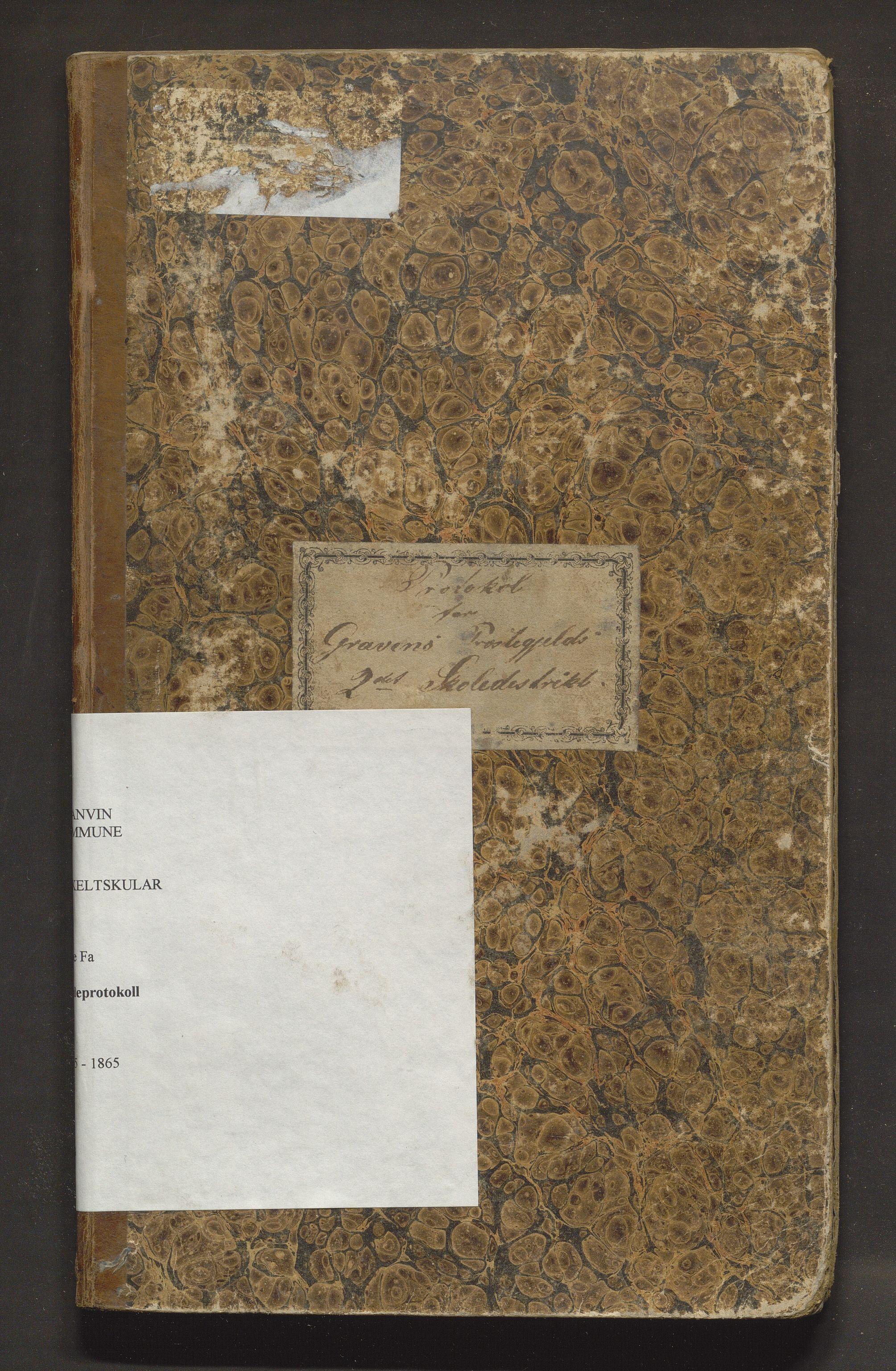 IKAH, Granvin herad. Barneskulane, F/Fa/L0003: Skuleprotokoll for 2. skuledistrikt i Gravens prestegjeld, 1855-1865