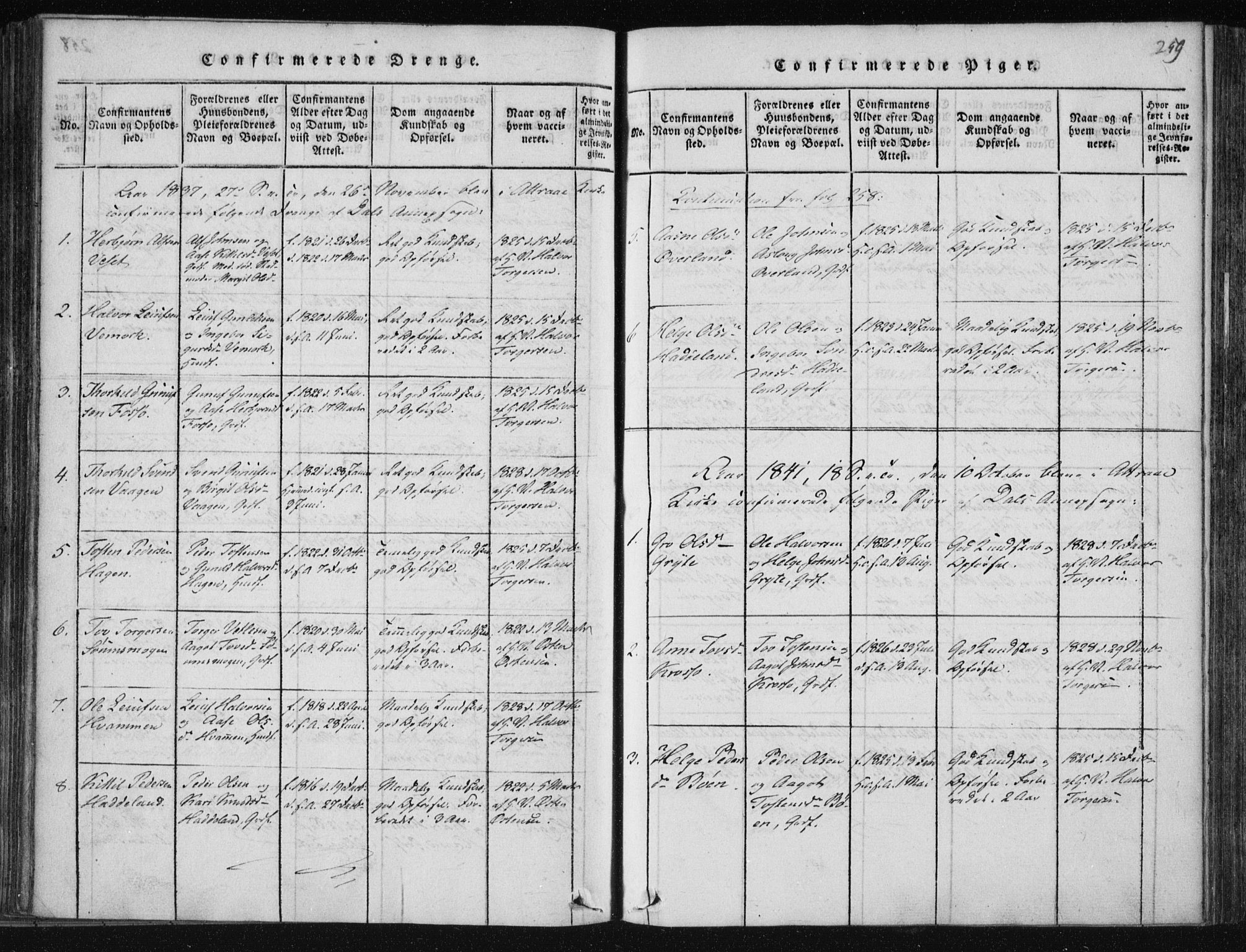 SAKO, Tinn kirkebøker, F/Fc/L0001: Ministerialbok nr. III 1, 1815-1843, s. 259