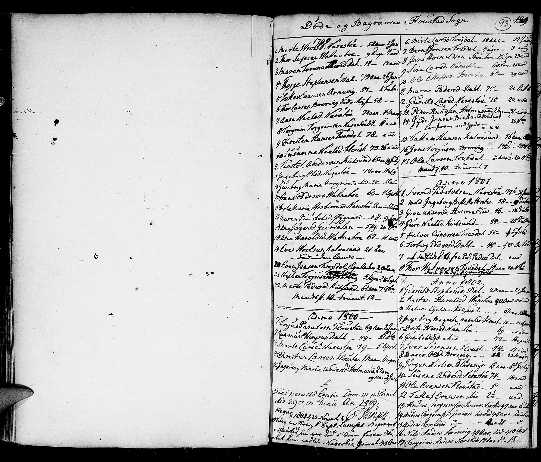 SAK, Holt sokneprestkontor, F/Fa/L0001: Ministerialbok nr. A 1 /4, 1721-1812, s. 93