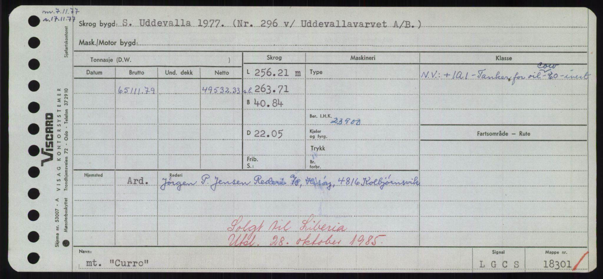 RA, Sjøfartsdirektoratet med forløpere, Skipsmålingen, H/Hd/L0008: Fartøy, C-D, s. 281