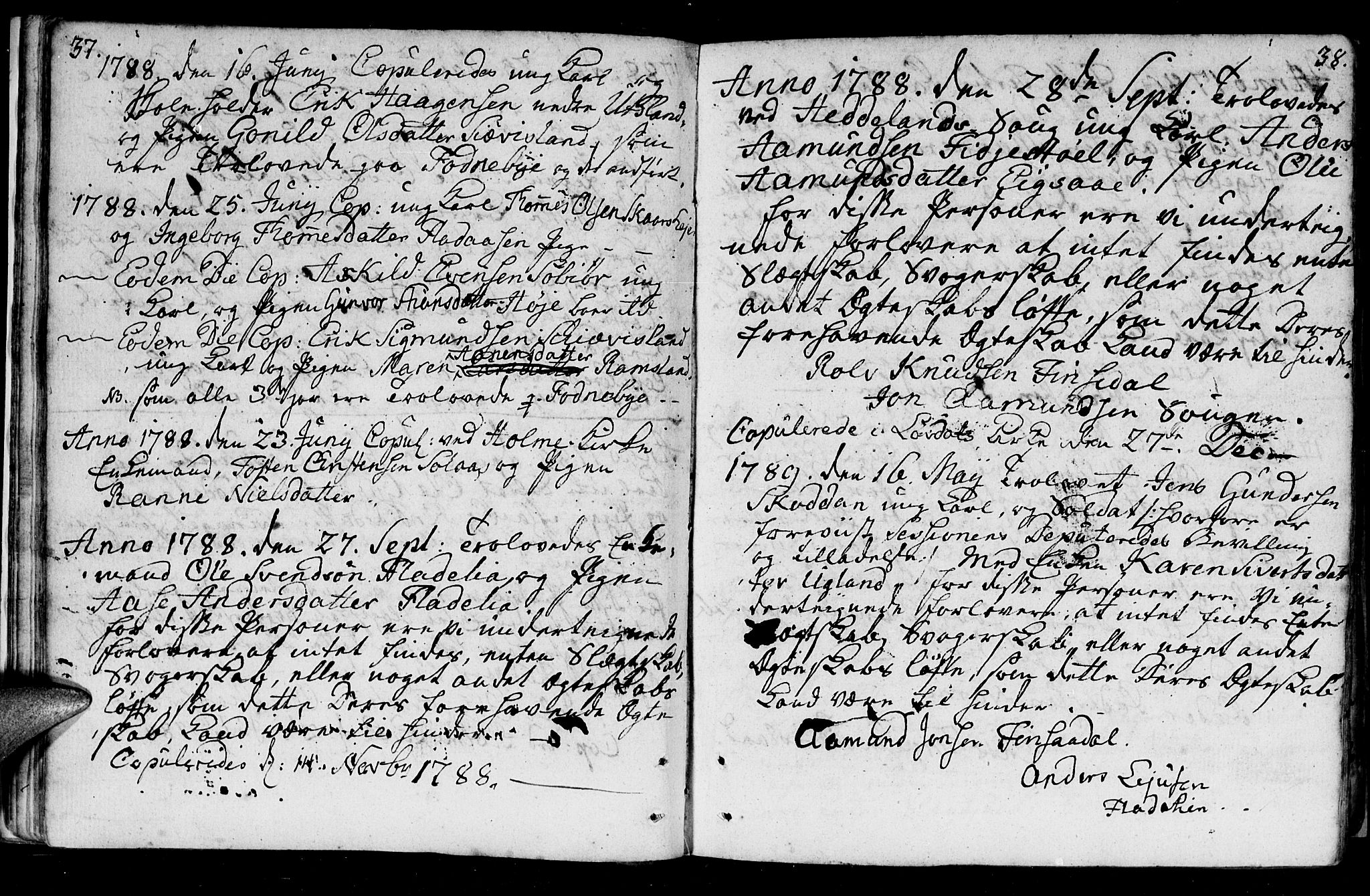SAK, Holum sokneprestkontor, F/Fa/Fac/L0001: Ministerialbok nr. A 1, 1773-1820, s. 37-38