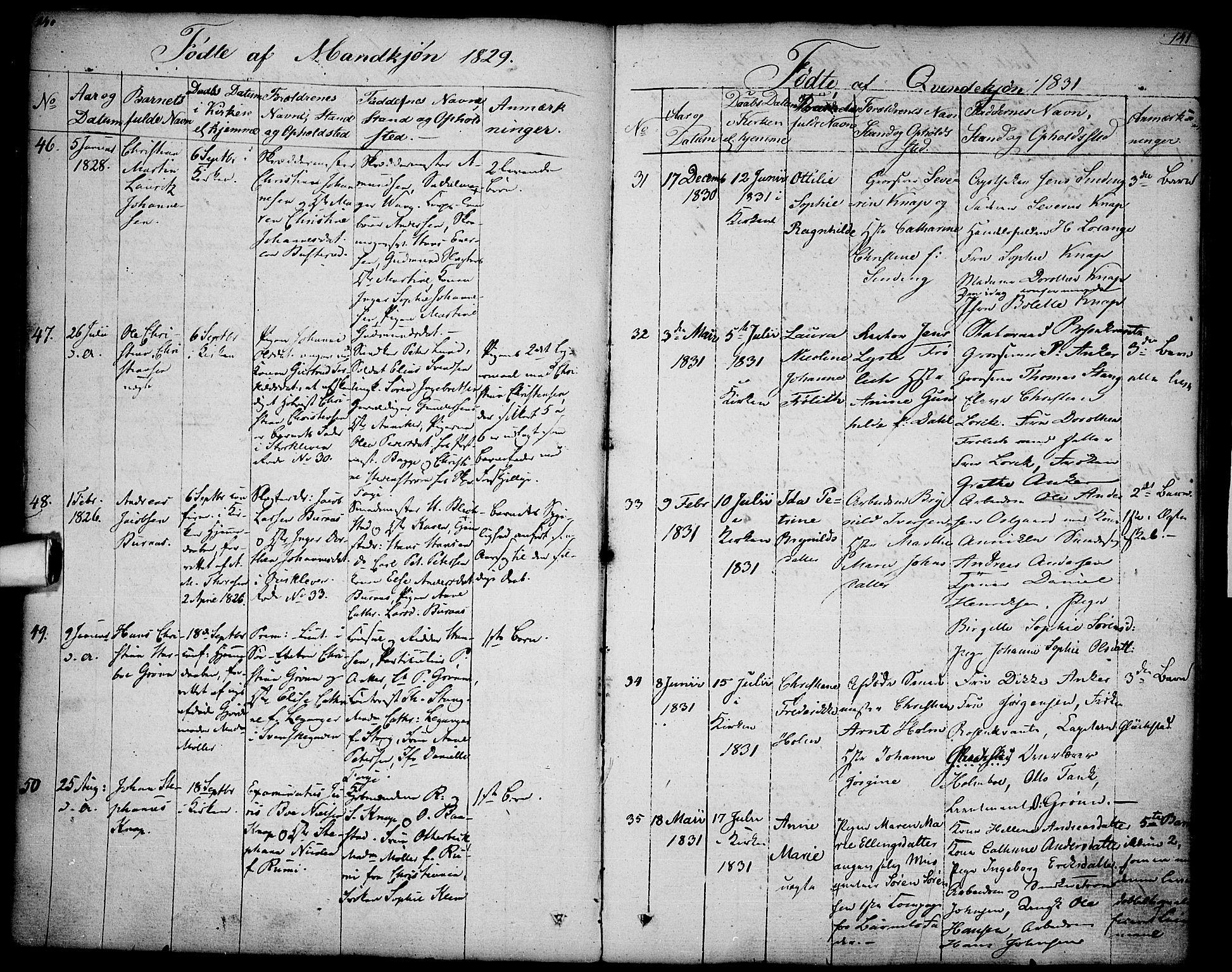 SAO, Halden prestekontor Kirkebøker, F/Fa/L0004: Ministerialbok nr. I 4, 1823-1834, s. 140-141