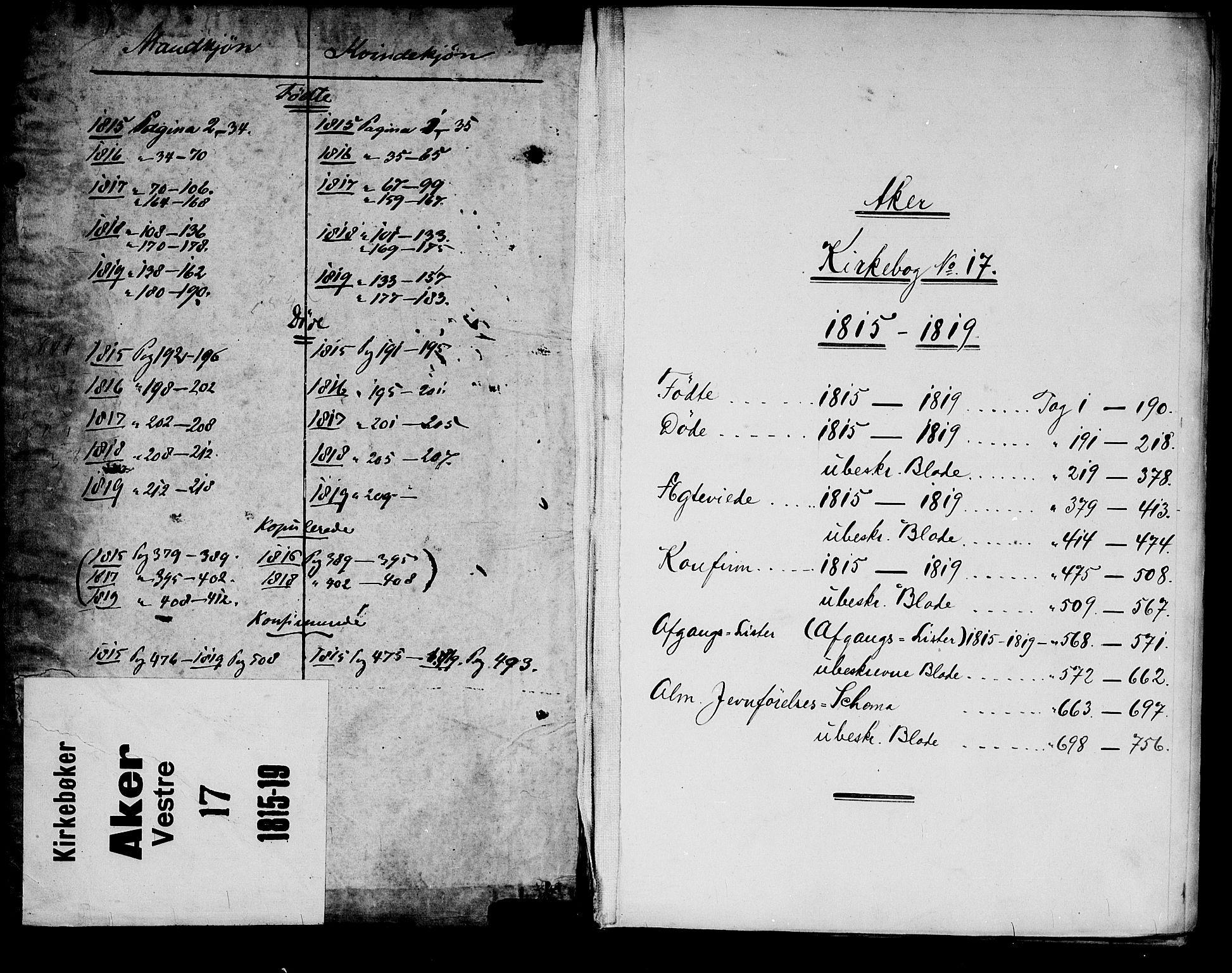 SAO, Garnisonsmenigheten Kirkebøker, G/Ga/L0003: Klokkerbok nr. 3, 1815-1819