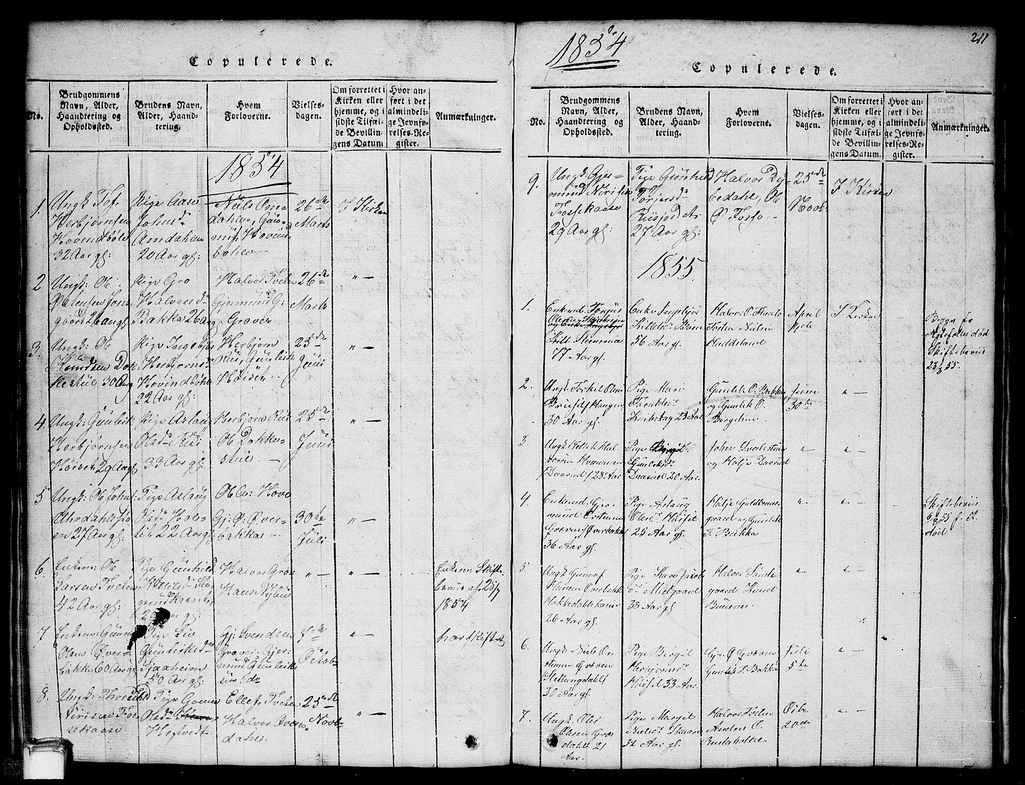 SAKO, Gransherad kirkebøker, G/Gb/L0001: Klokkerbok nr. II 1, 1815-1860, s. 211