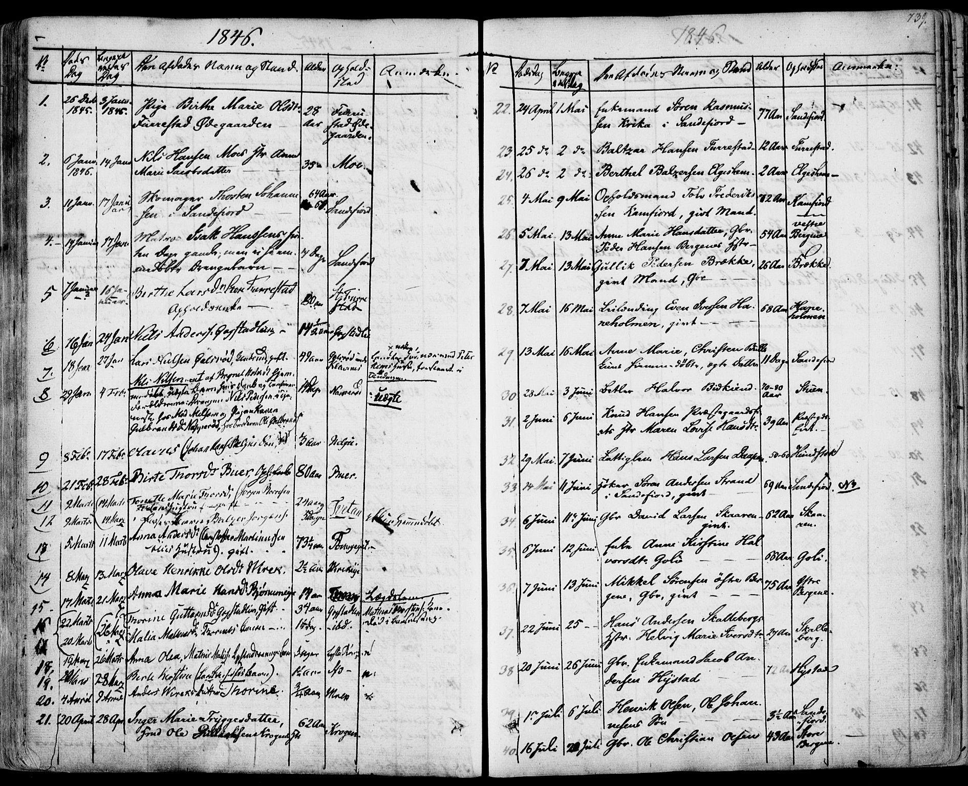 SAKO, Sandar kirkebøker, F/Fa/L0005: Ministerialbok nr. 5, 1832-1847, s. 738-739