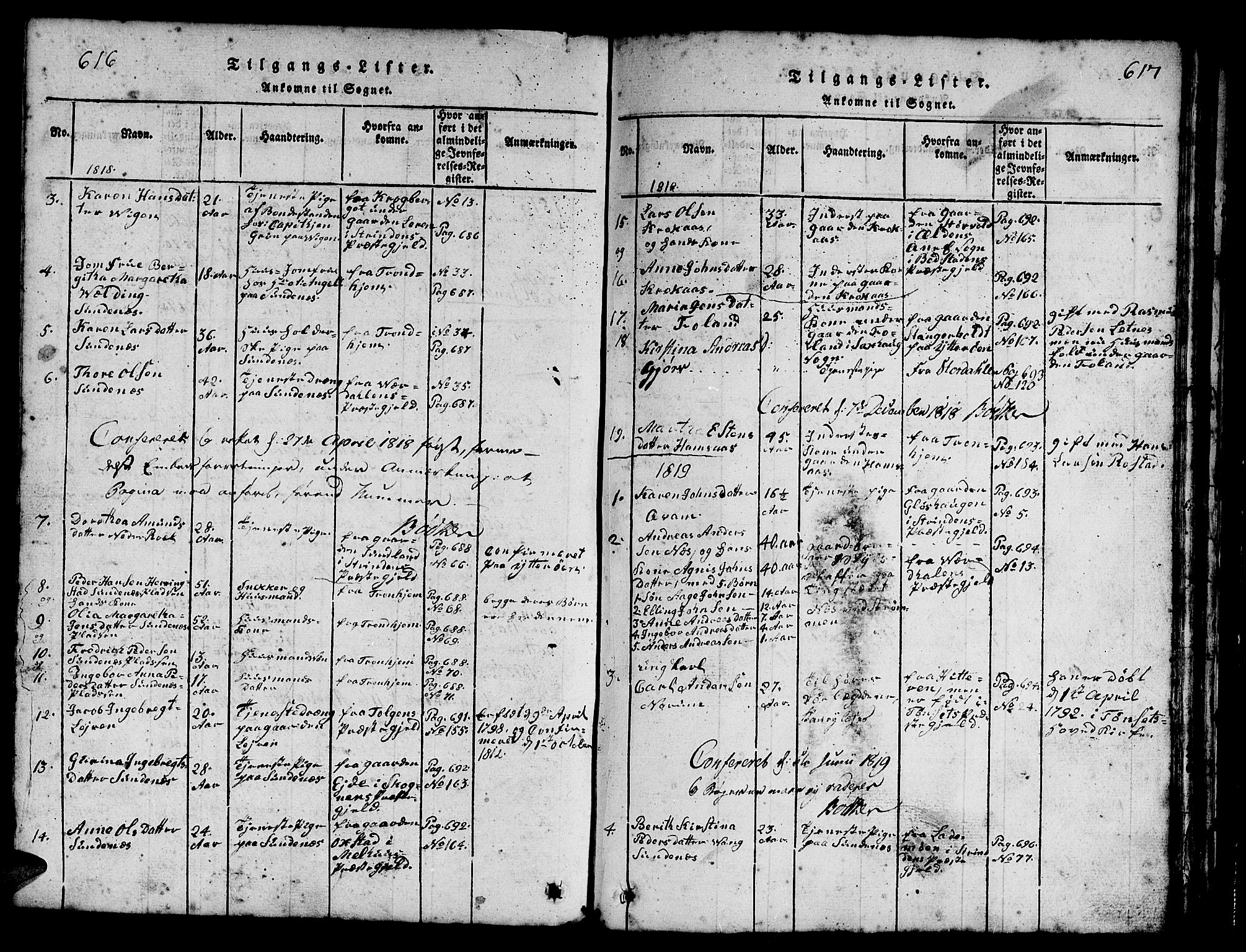 SAT, Ministerialprotokoller, klokkerbøker og fødselsregistre - Nord-Trøndelag, 730/L0298: Klokkerbok nr. 730C01, 1816-1849, s. 616-617