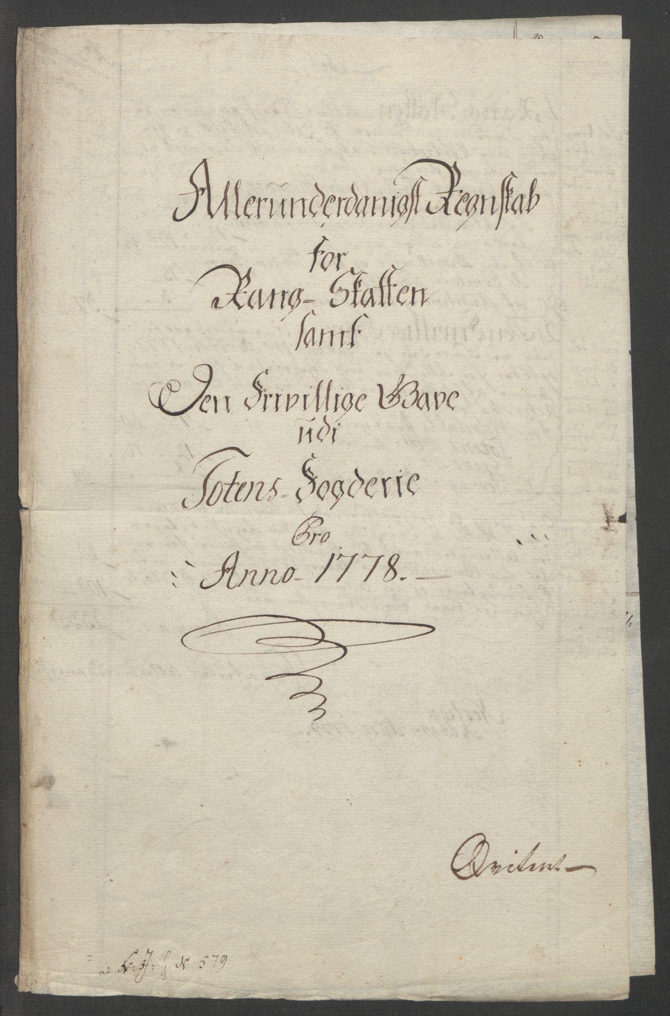 RA, Rentekammeret inntil 1814, Reviderte regnskaper, Fogderegnskap, R19/L1399: Fogderegnskap Toten, Hadeland og Vardal, 1762-1783, s. 466
