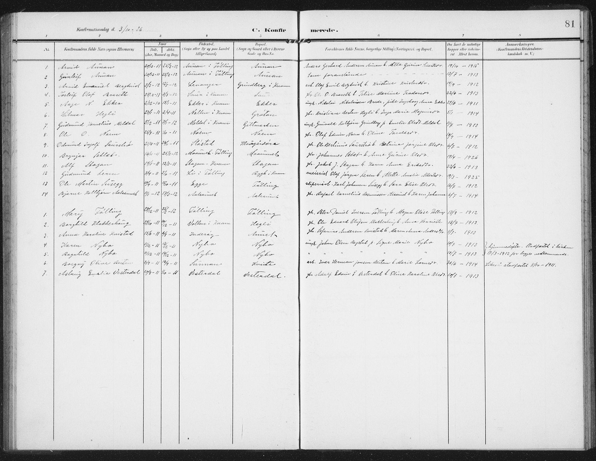 SAT, Ministerialprotokoller, klokkerbøker og fødselsregistre - Nord-Trøndelag, 747/L0460: Klokkerbok nr. 747C02, 1908-1939, s. 81