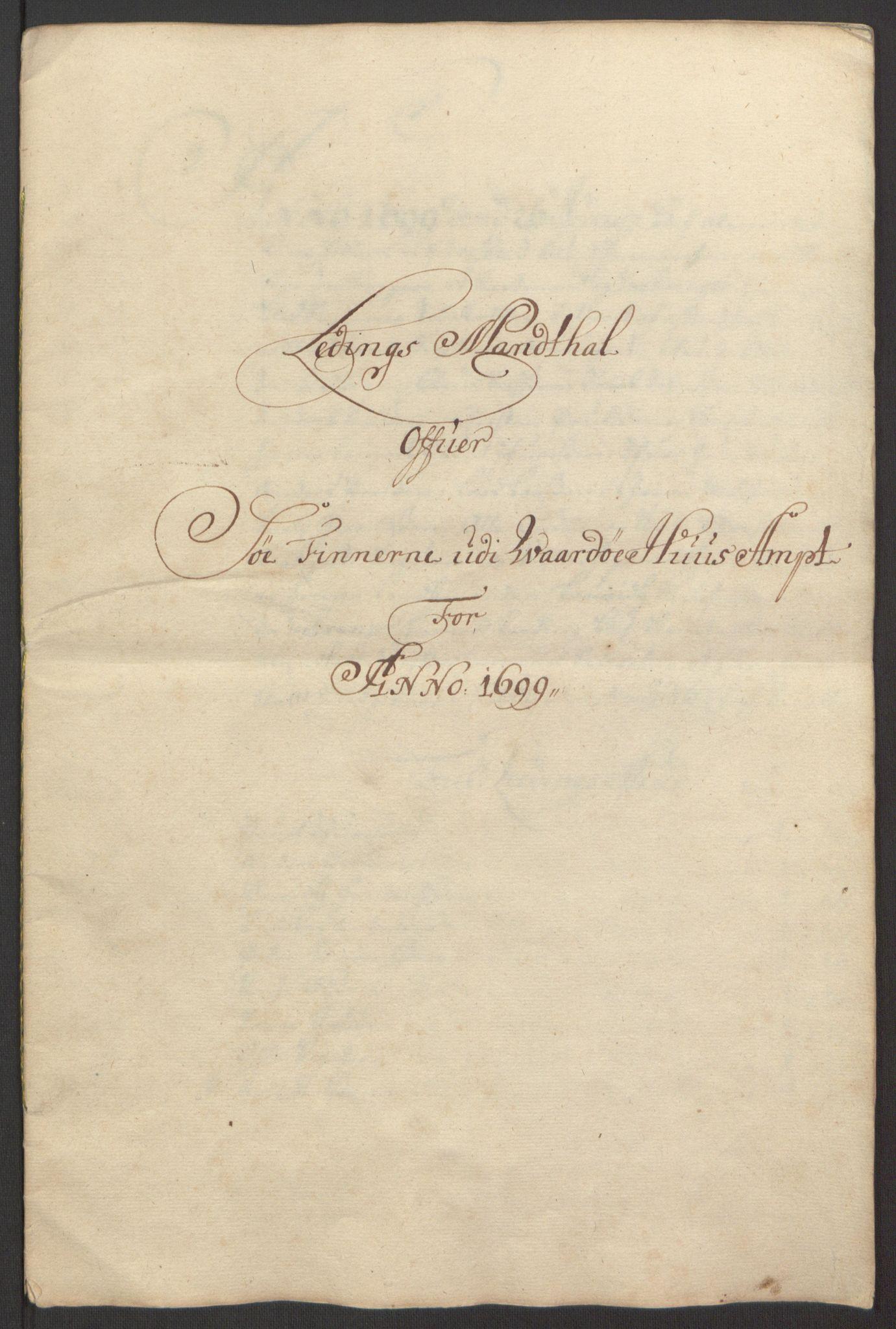 RA, Rentekammeret inntil 1814, Reviderte regnskaper, Fogderegnskap, R69/L4851: Fogderegnskap Finnmark/Vardøhus, 1691-1700, s. 402