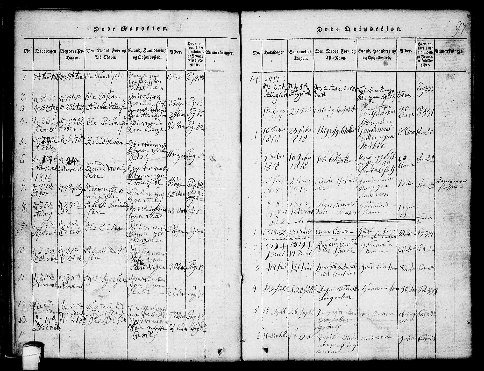 SAKO, Lårdal kirkebøker, G/Gc/L0001: Klokkerbok nr. III 1, 1815-1854, s. 97