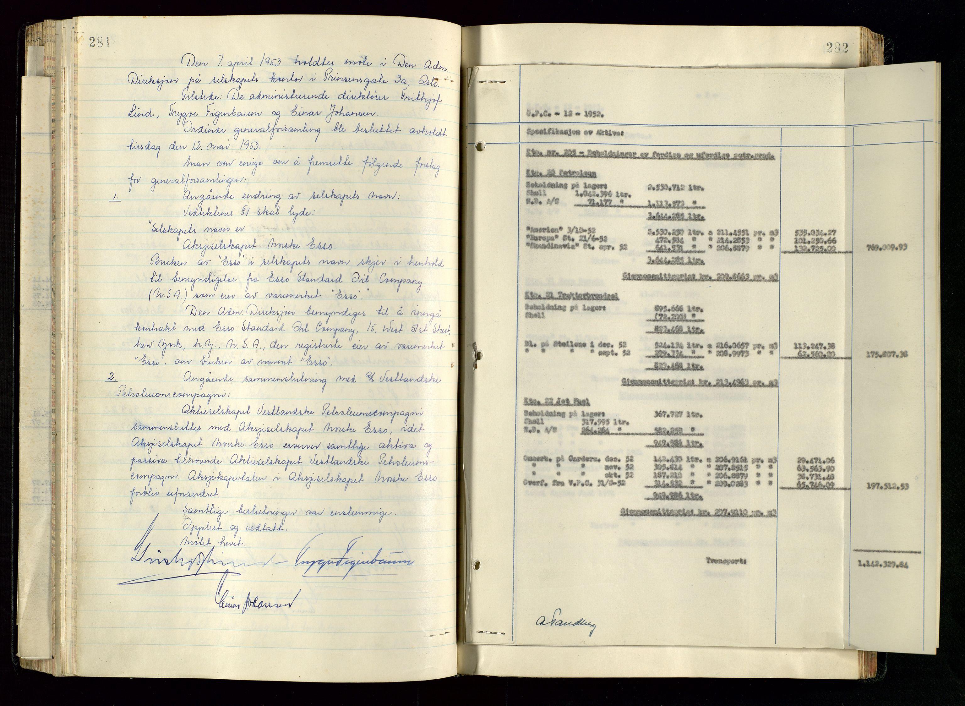 SAST, PA 1534 - Østlandske Petroleumscompagni A/S, A/Aa/L0005: Direksjonsprotokoller, 1943-1958, s. 281-282