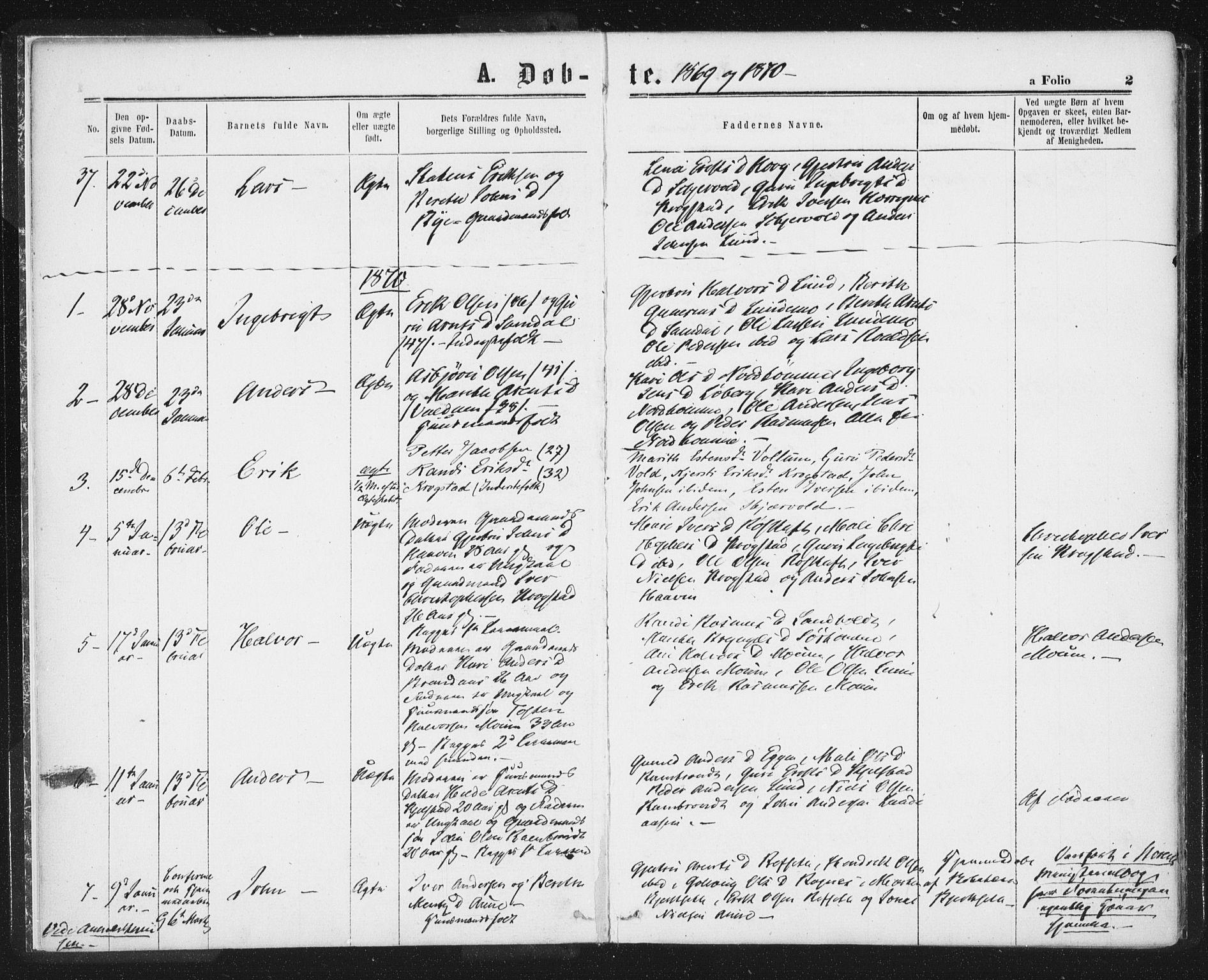 SAT, Ministerialprotokoller, klokkerbøker og fødselsregistre - Sør-Trøndelag, 692/L1104: Ministerialbok nr. 692A04, 1862-1878, s. 2