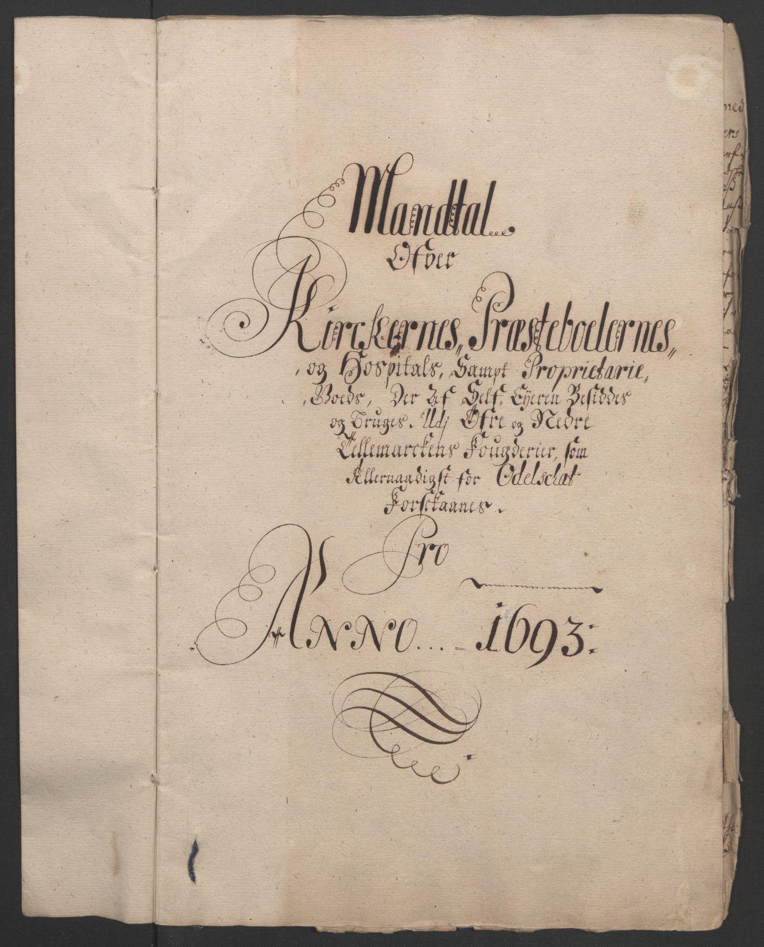 RA, Rentekammeret inntil 1814, Reviderte regnskaper, Fogderegnskap, R35/L2091: Fogderegnskap Øvre og Nedre Telemark, 1690-1693, s. 334