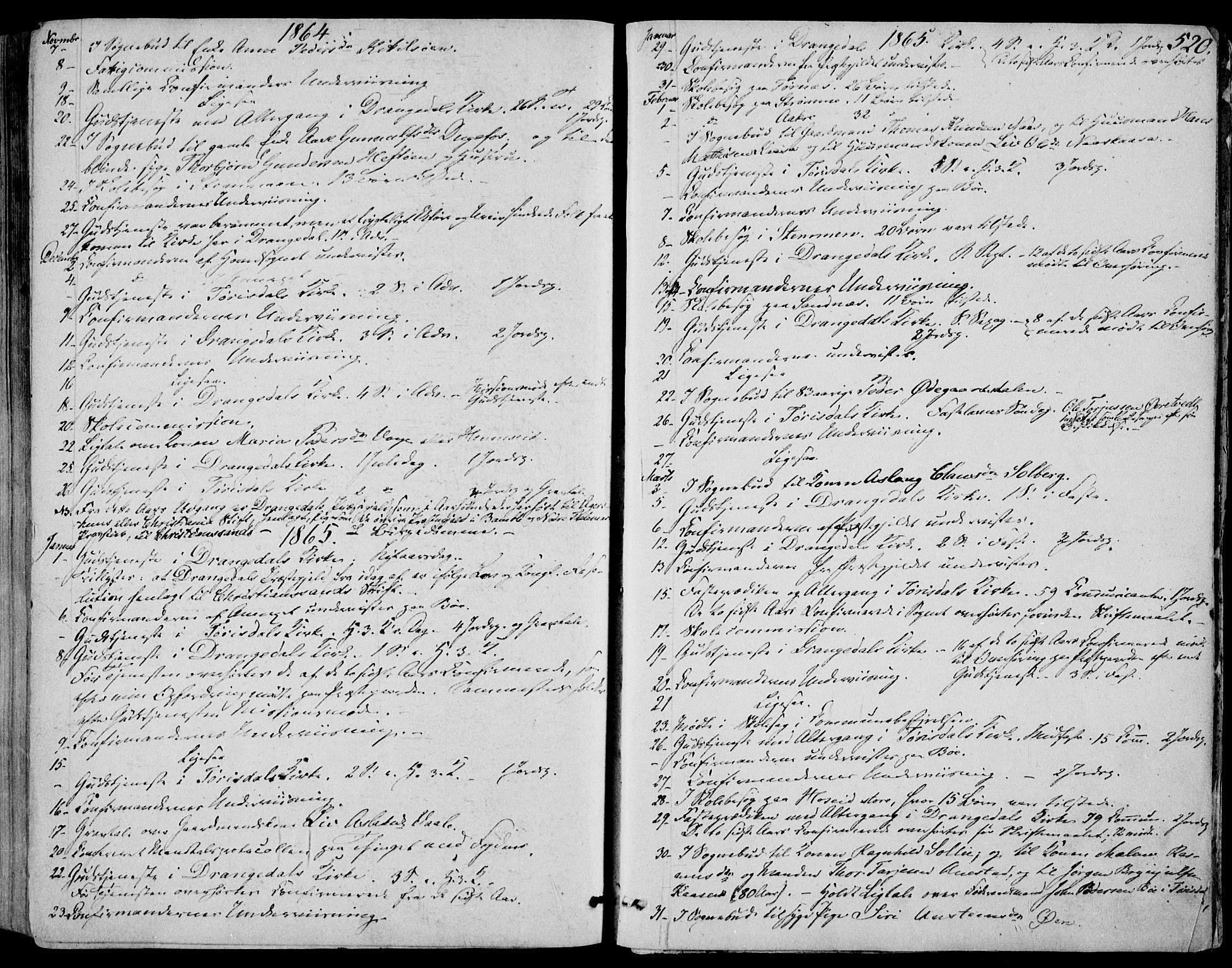 SAKO, Drangedal kirkebøker, F/Fa/L0008: Ministerialbok nr. 8, 1857-1871, s. 520