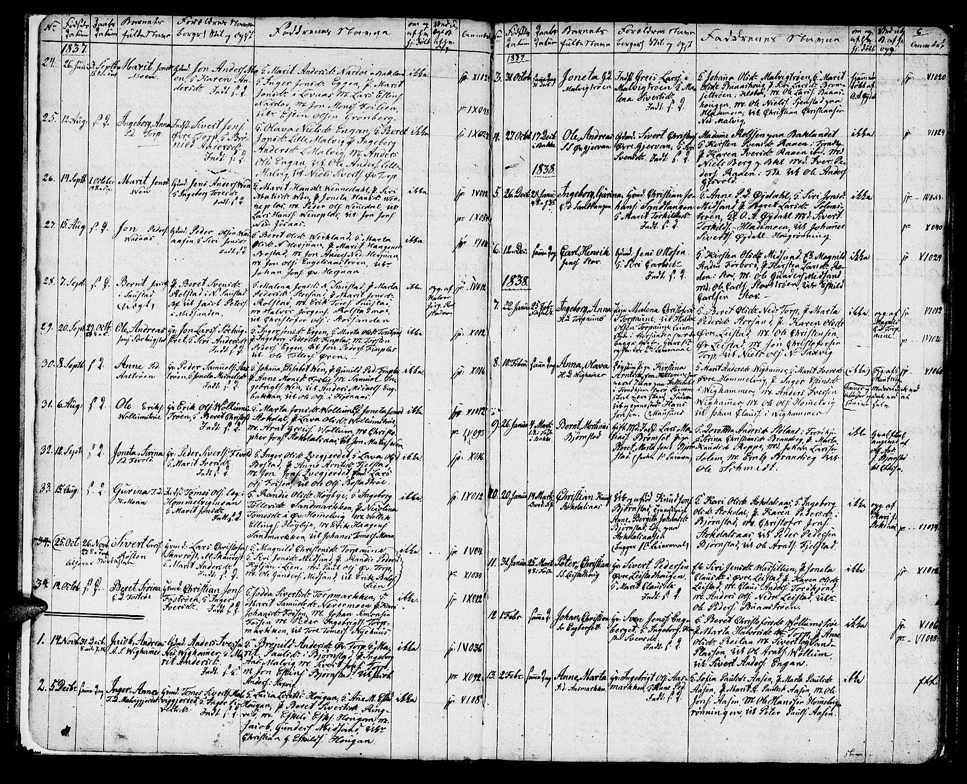 SAT, Ministerialprotokoller, klokkerbøker og fødselsregistre - Sør-Trøndelag, 616/L0421: Klokkerbok nr. 616C04, 1834-1850, s. 6