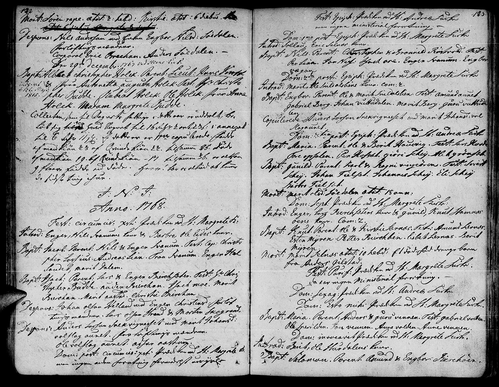 SAT, Ministerialprotokoller, klokkerbøker og fødselsregistre - Sør-Trøndelag, 630/L0489: Ministerialbok nr. 630A02, 1757-1794, s. 122-123