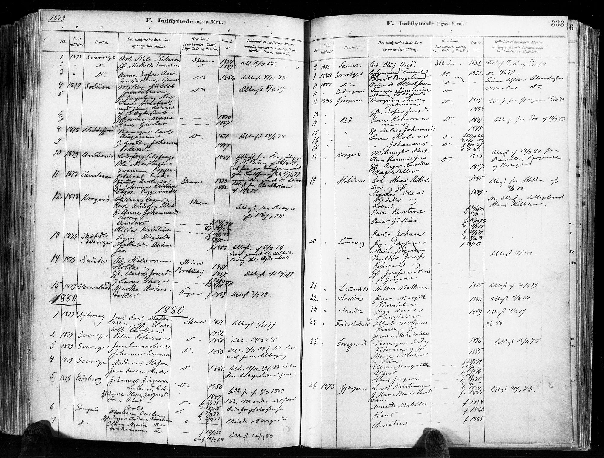 SAKO, Skien kirkebøker, F/Fa/L0009: Ministerialbok nr. 9, 1878-1890, s. 333