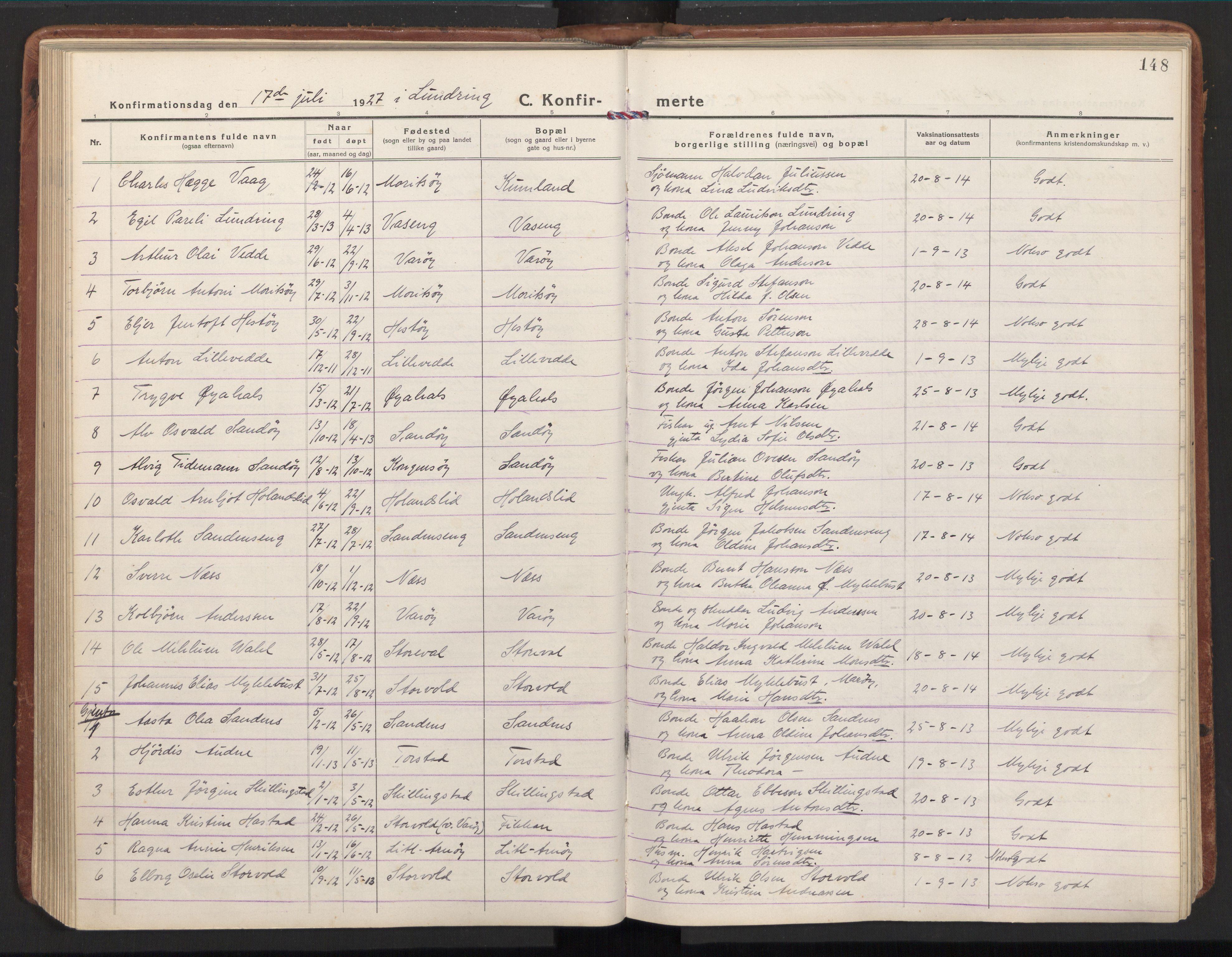 SAT, Ministerialprotokoller, klokkerbøker og fødselsregistre - Nord-Trøndelag, 784/L0678: Ministerialbok nr. 784A13, 1921-1938, s. 148