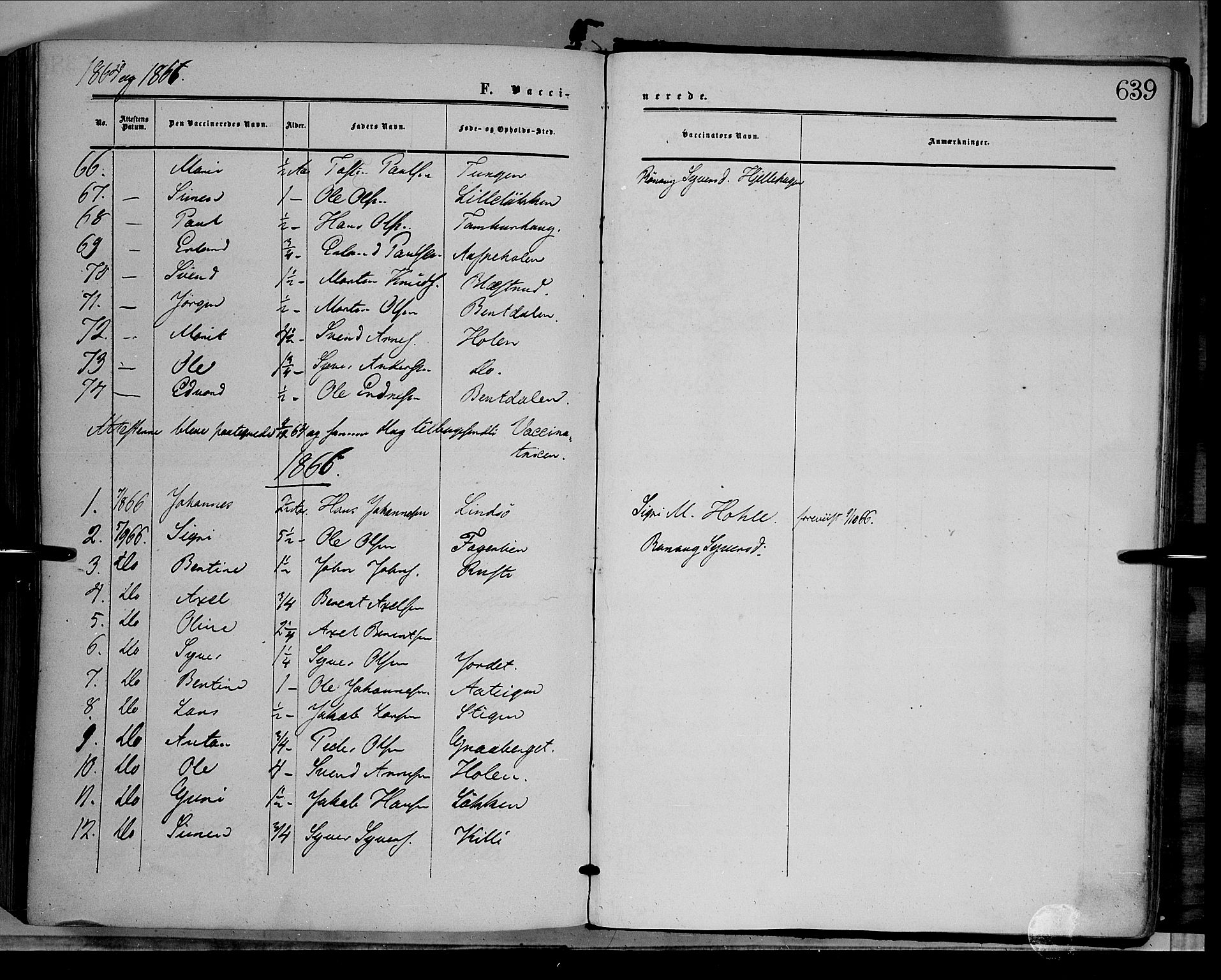 SAH, Dovre prestekontor, Ministerialbok nr. 1, 1854-1878, s. 639