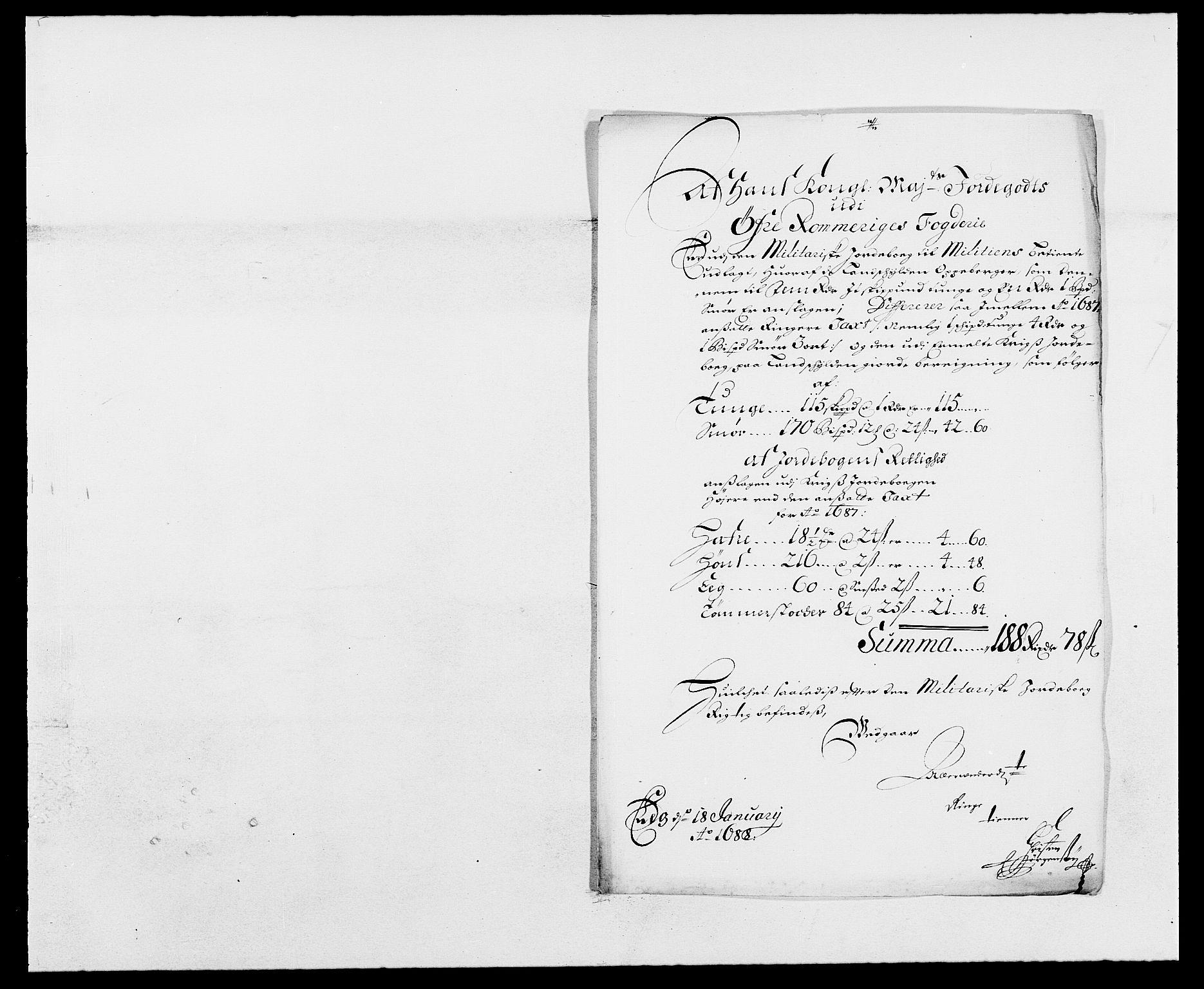 RA, Rentekammeret inntil 1814, Reviderte regnskaper, Fogderegnskap, R12/L0700: Fogderegnskap Øvre Romerike, 1687-1688, s. 165
