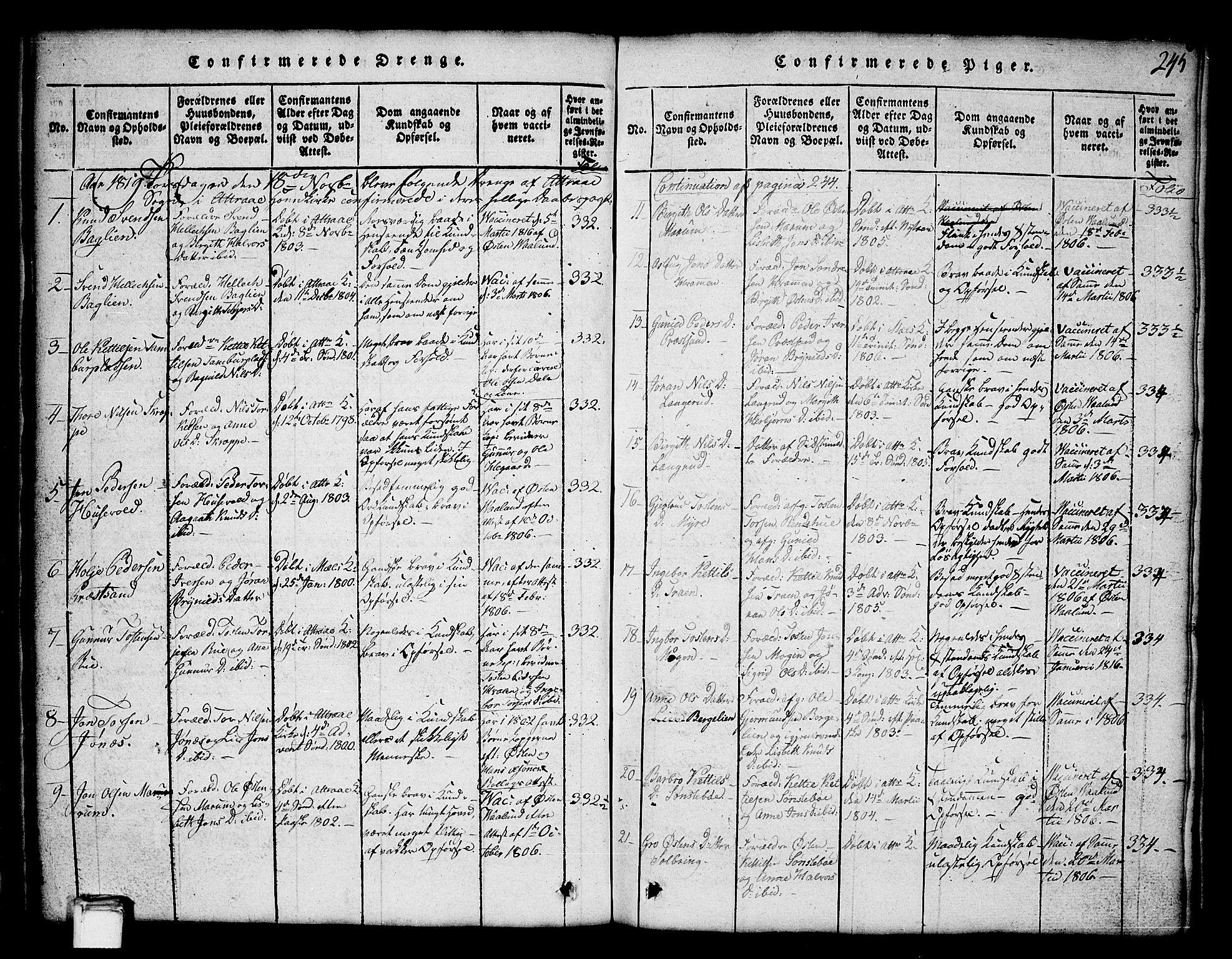 SAKO, Tinn kirkebøker, G/Ga/L0001: Klokkerbok nr. I 1, 1815-1850, s. 245