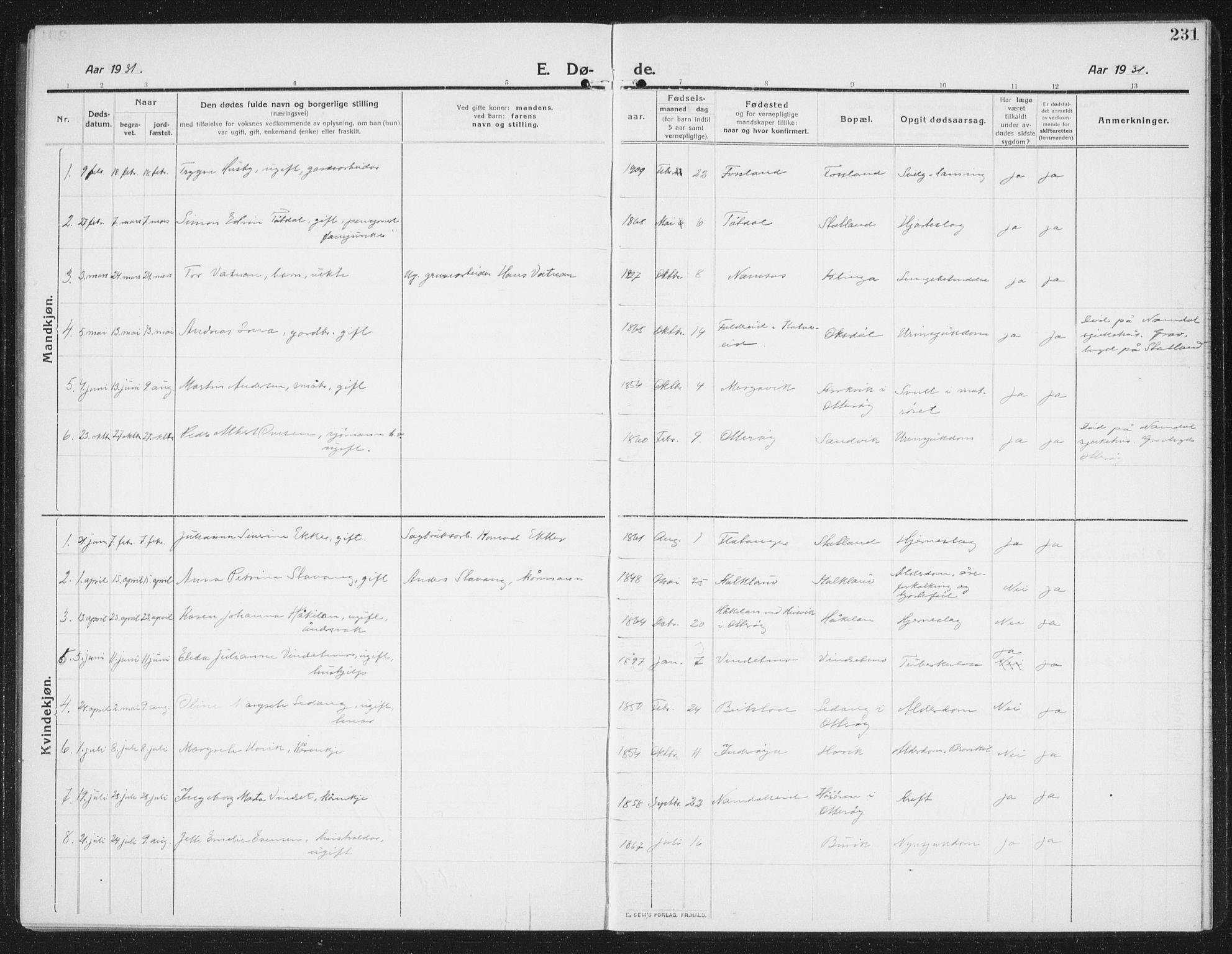 SAT, Ministerialprotokoller, klokkerbøker og fødselsregistre - Nord-Trøndelag, 774/L0630: Klokkerbok nr. 774C01, 1910-1934, s. 231