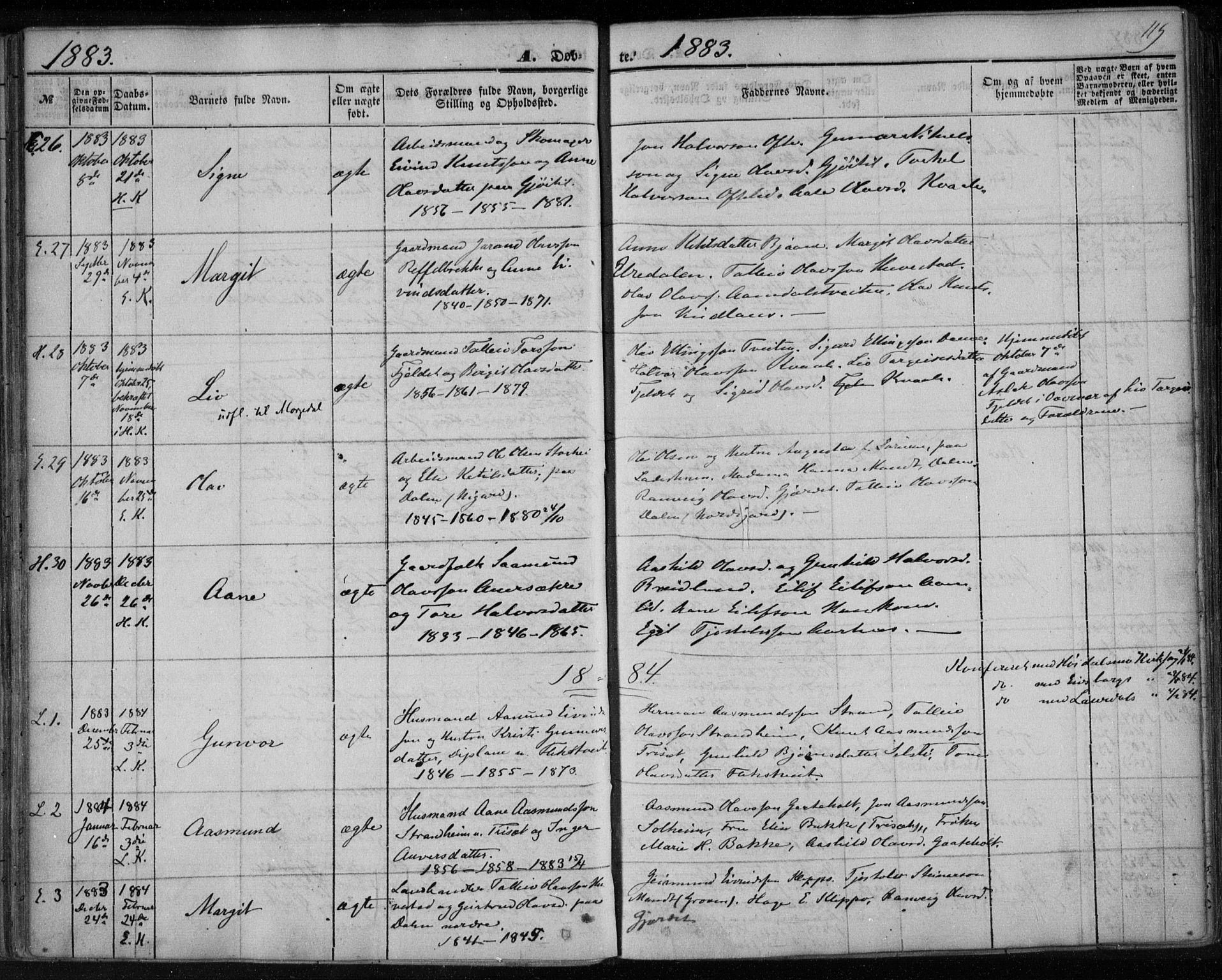 SAKO, Lårdal kirkebøker, F/Fa/L0006: Ministerialbok nr. I 6, 1861-1886, s. 119