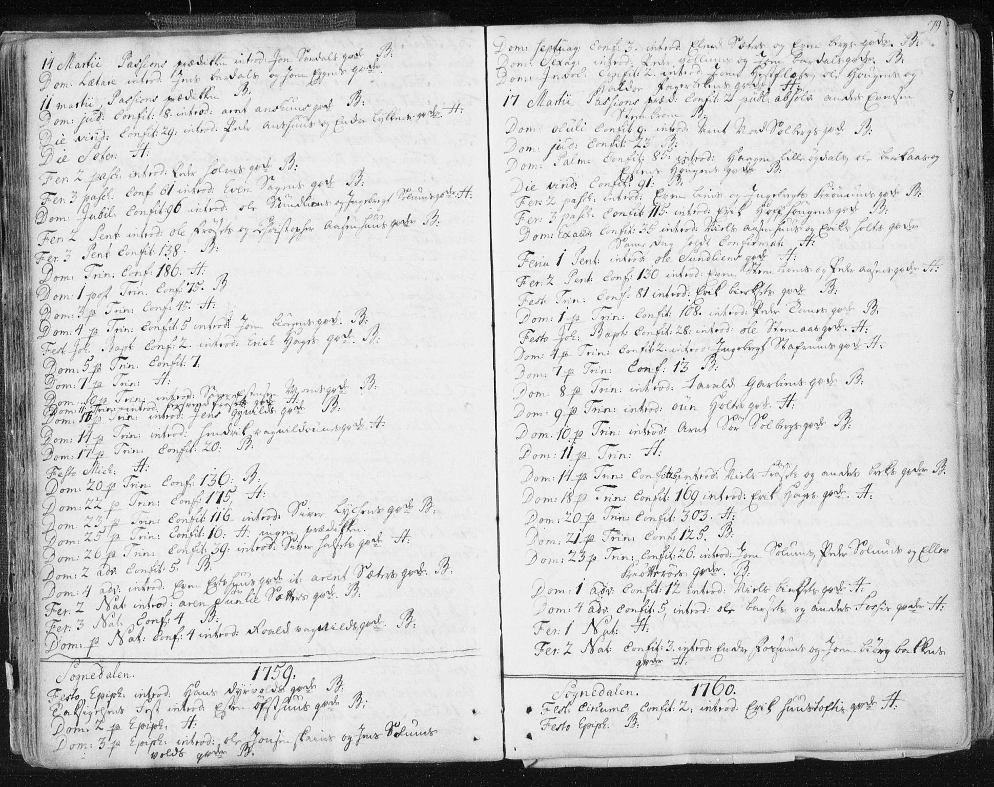 SAT, Ministerialprotokoller, klokkerbøker og fødselsregistre - Sør-Trøndelag, 687/L0991: Ministerialbok nr. 687A02, 1747-1790, s. 79