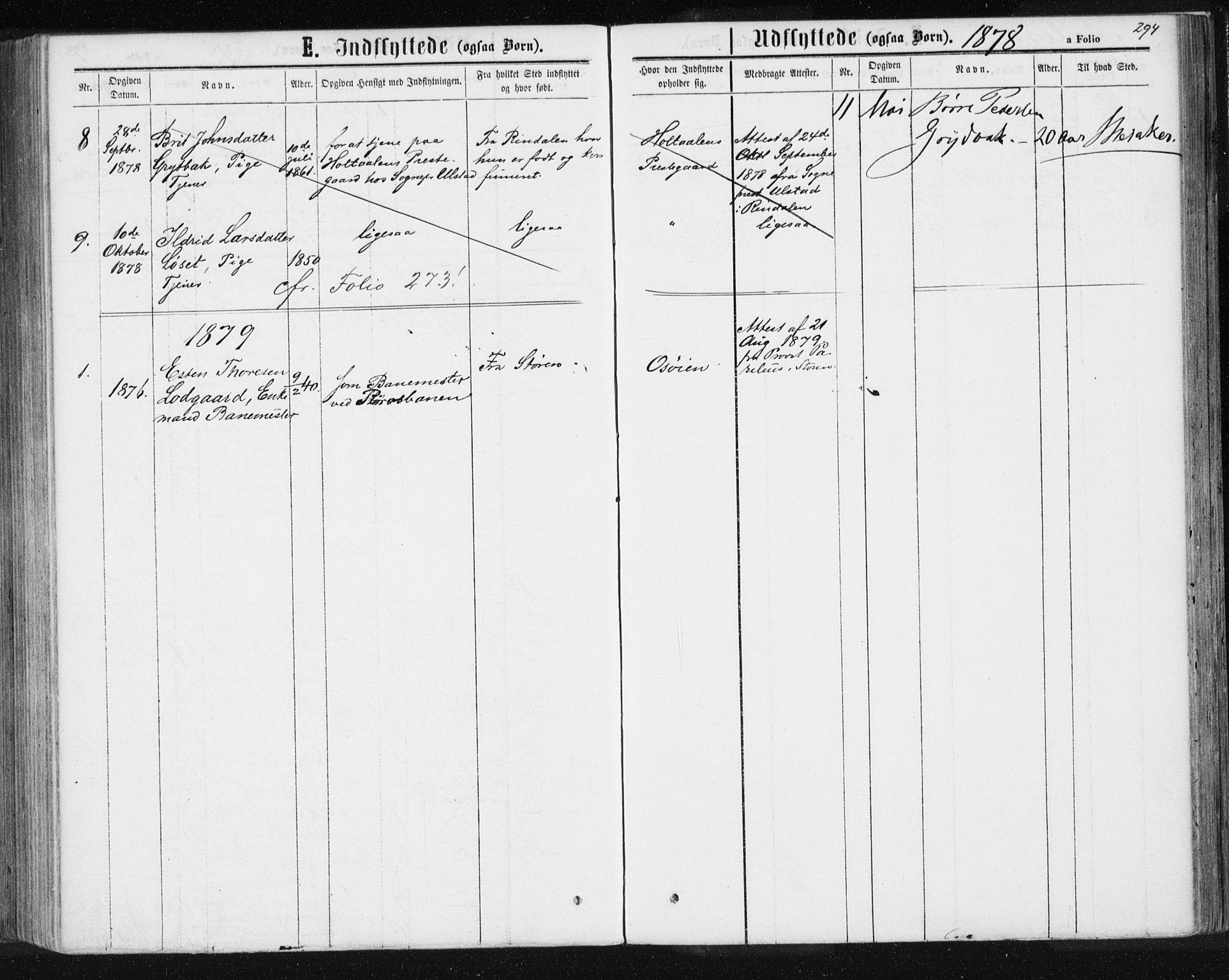 SAT, Ministerialprotokoller, klokkerbøker og fødselsregistre - Sør-Trøndelag, 685/L0971: Ministerialbok nr. 685A08 /3, 1870-1879, s. 294