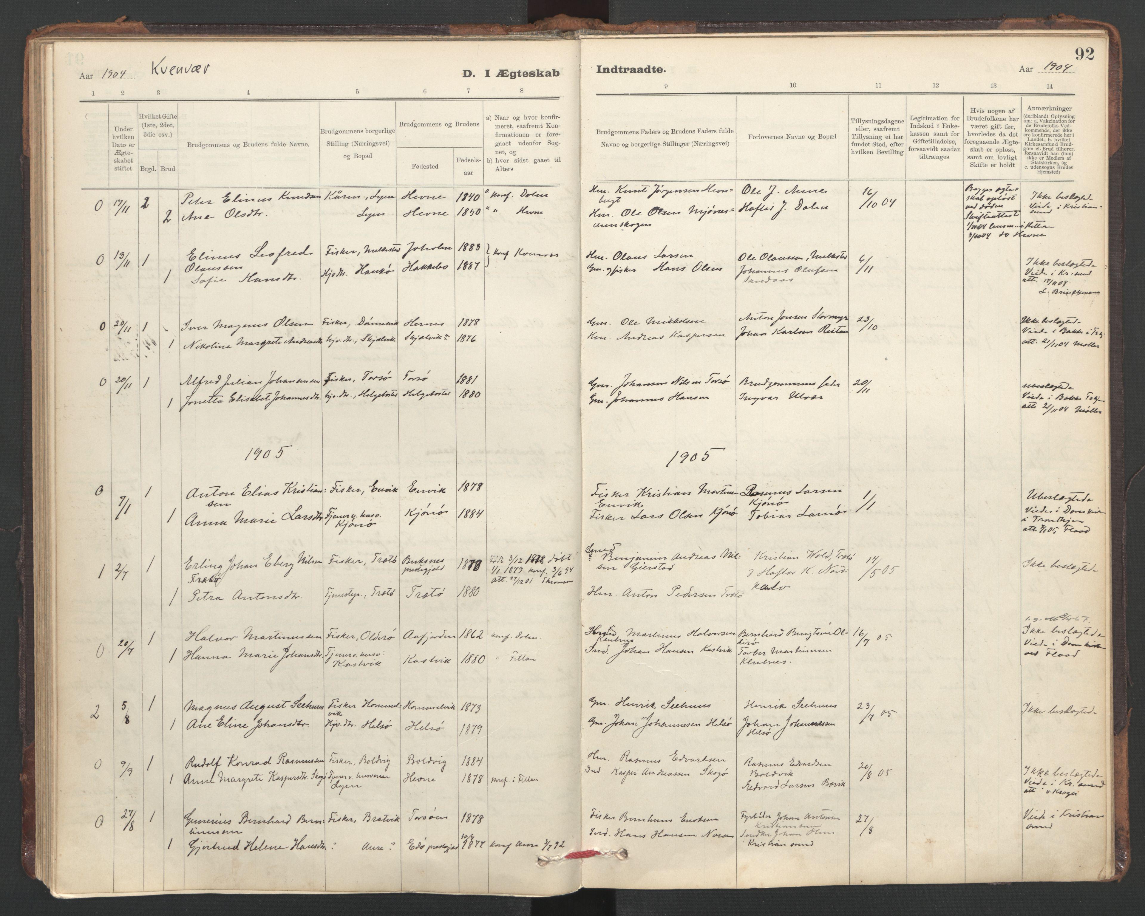 SAT, Ministerialprotokoller, klokkerbøker og fødselsregistre - Sør-Trøndelag, 635/L0552: Ministerialbok nr. 635A02, 1899-1919, s. 92