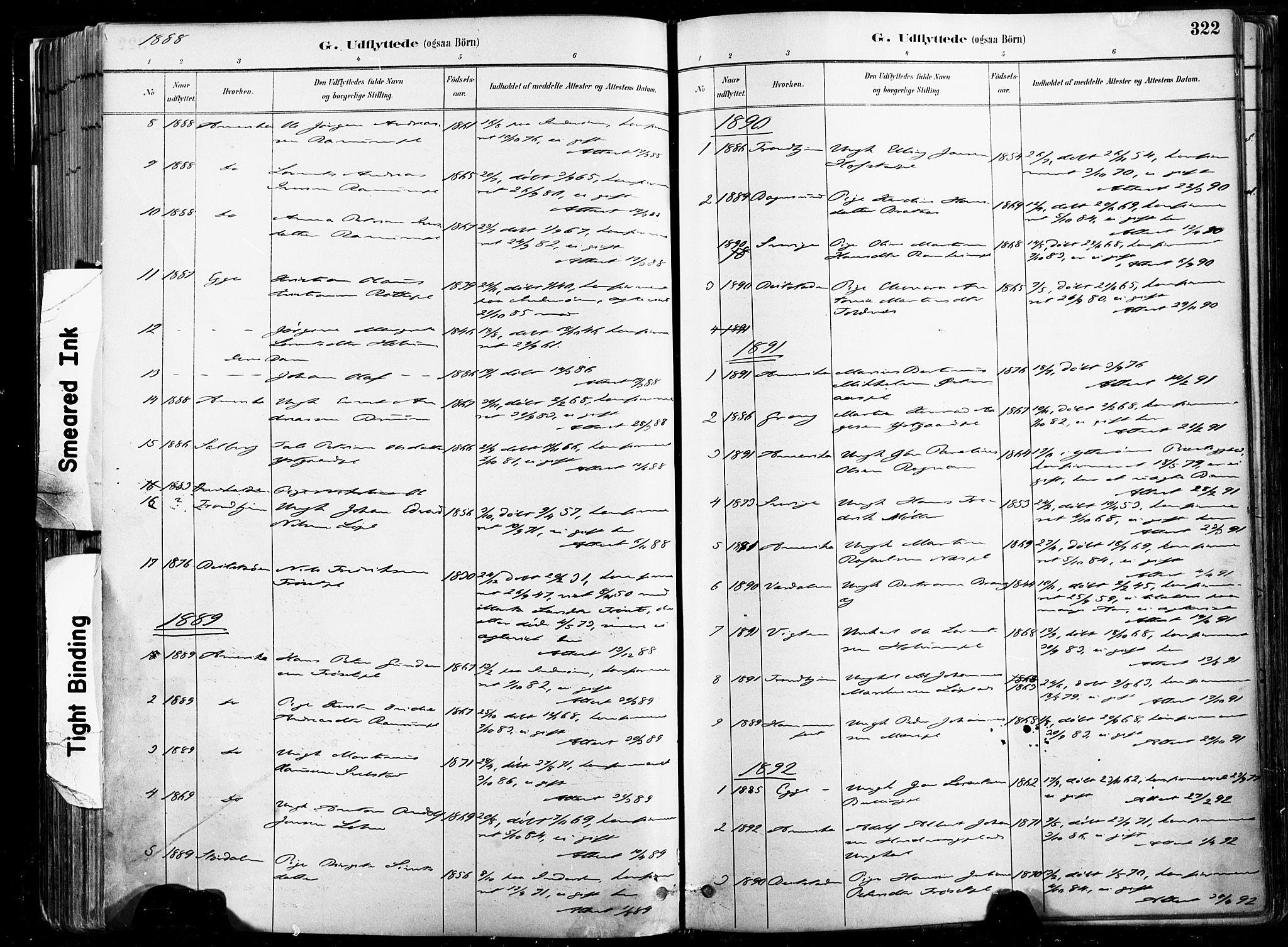 SAT, Ministerialprotokoller, klokkerbøker og fødselsregistre - Nord-Trøndelag, 735/L0351: Ministerialbok nr. 735A10, 1884-1908, s. 322