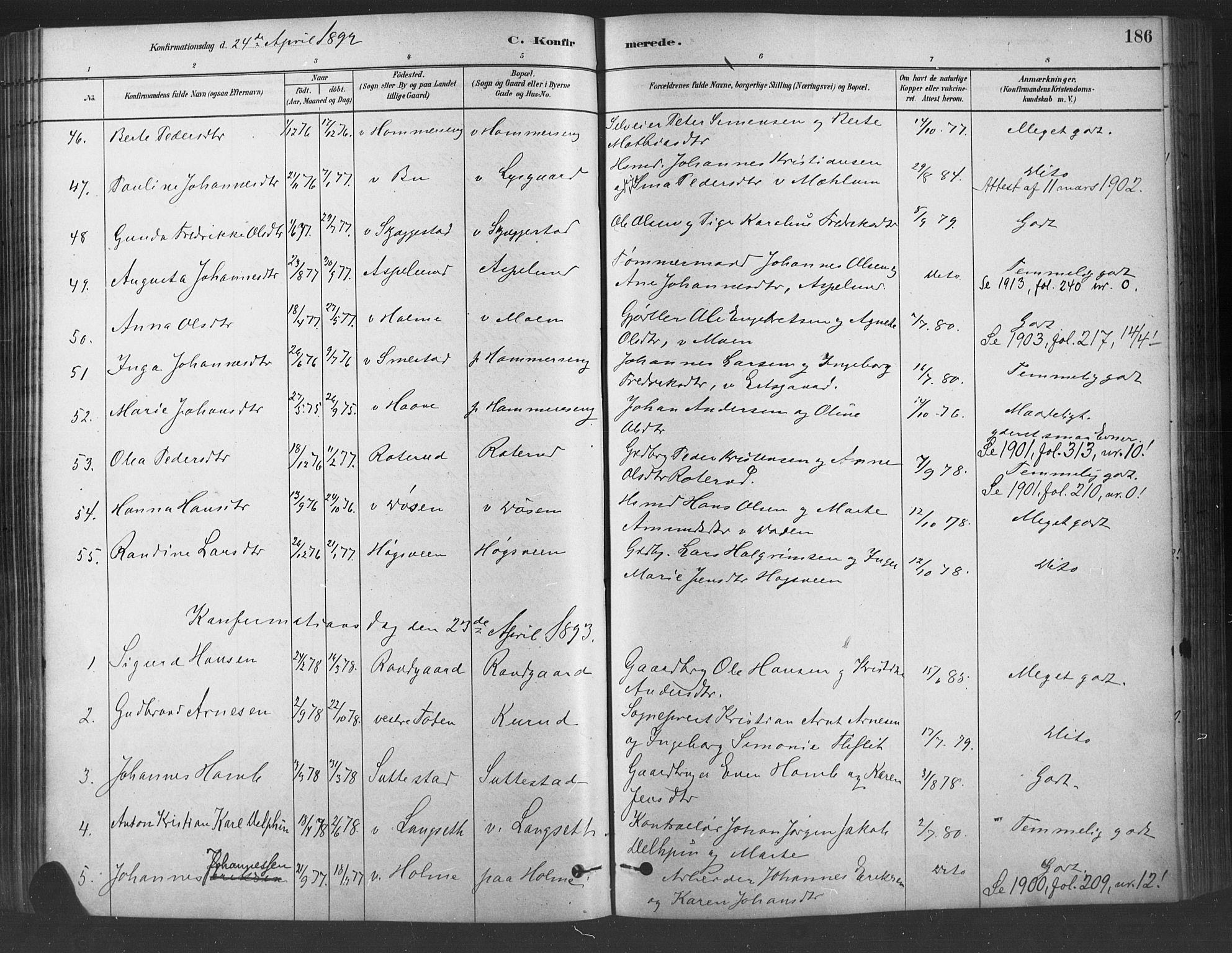 SAH, Fåberg prestekontor, Ministerialbok nr. 9, 1879-1898, s. 186