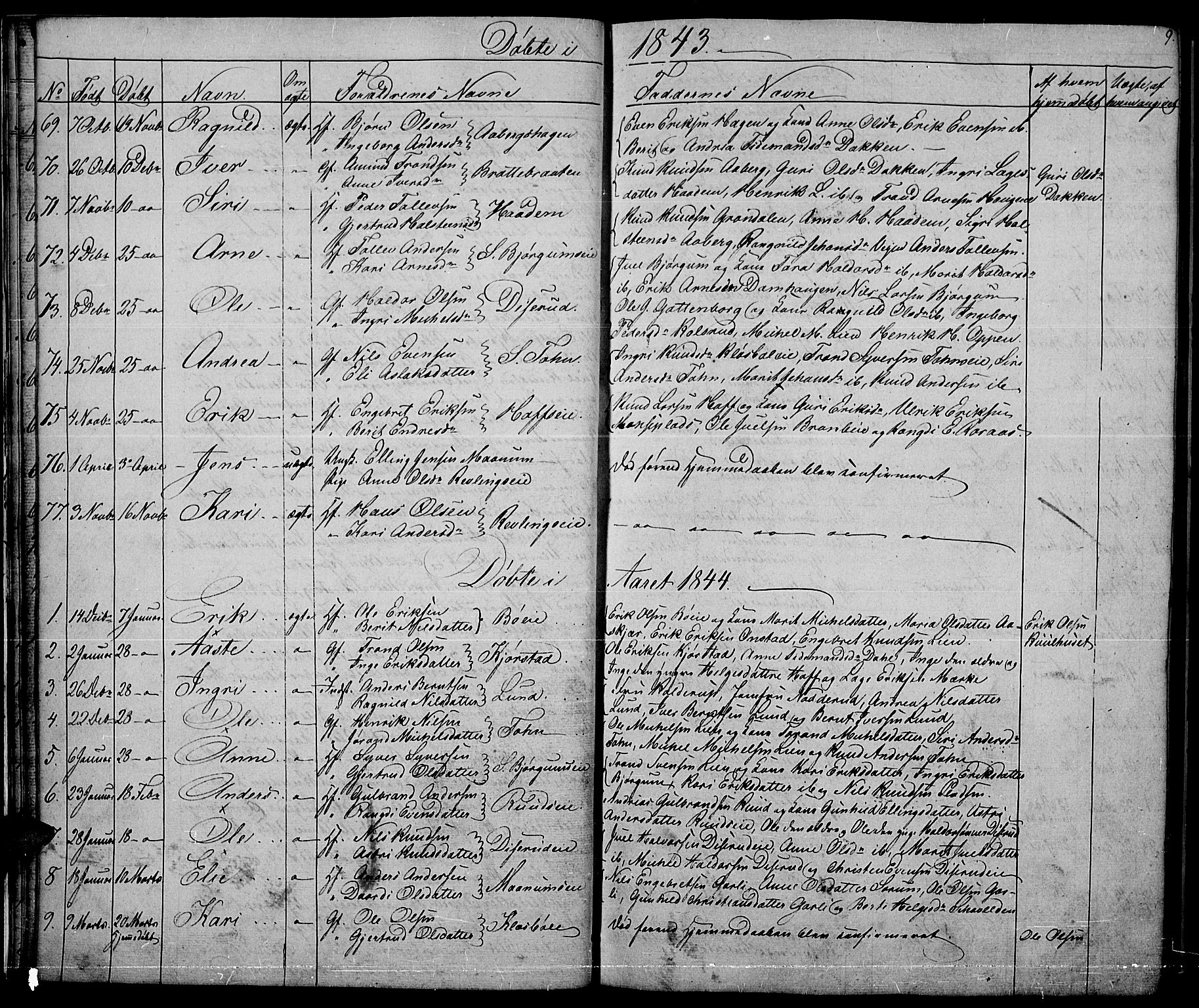 SAH, Nord-Aurdal prestekontor, Klokkerbok nr. 2, 1842-1877, s. 9
